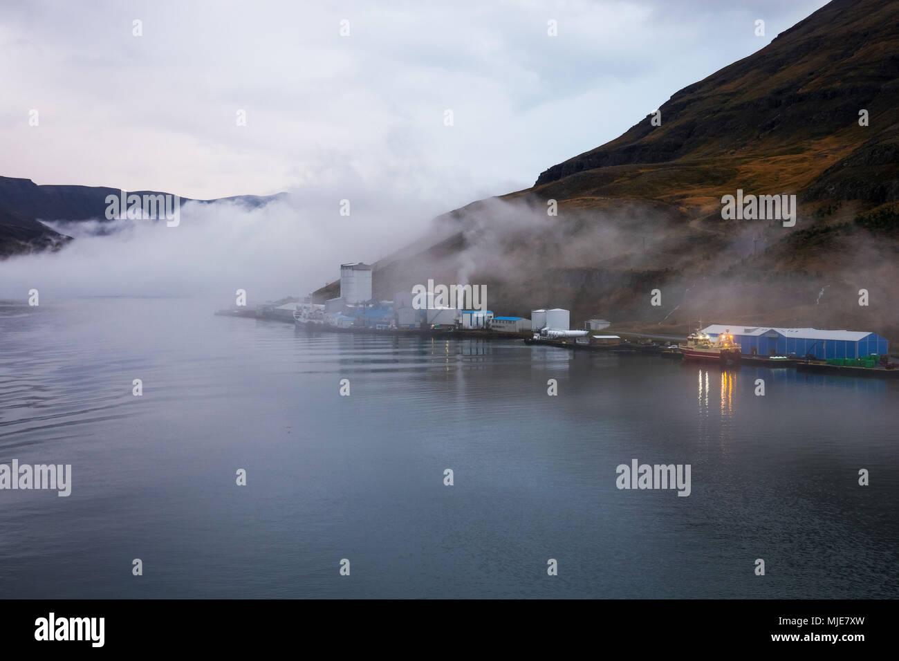 Fish factory in Seydisfjordur, Iceland - Stock Image