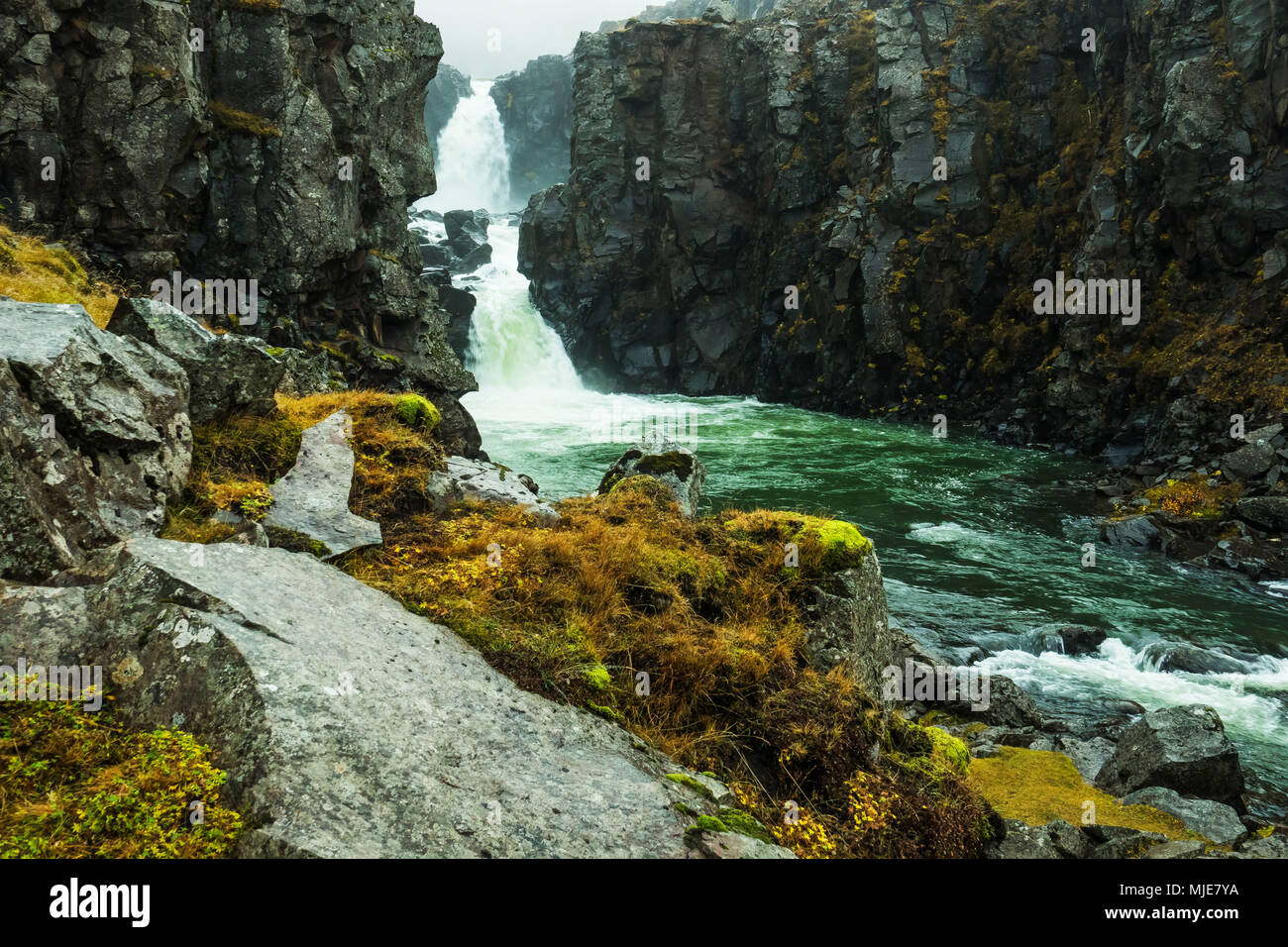 Waterfall in Austurland, Iceland - Stock Image