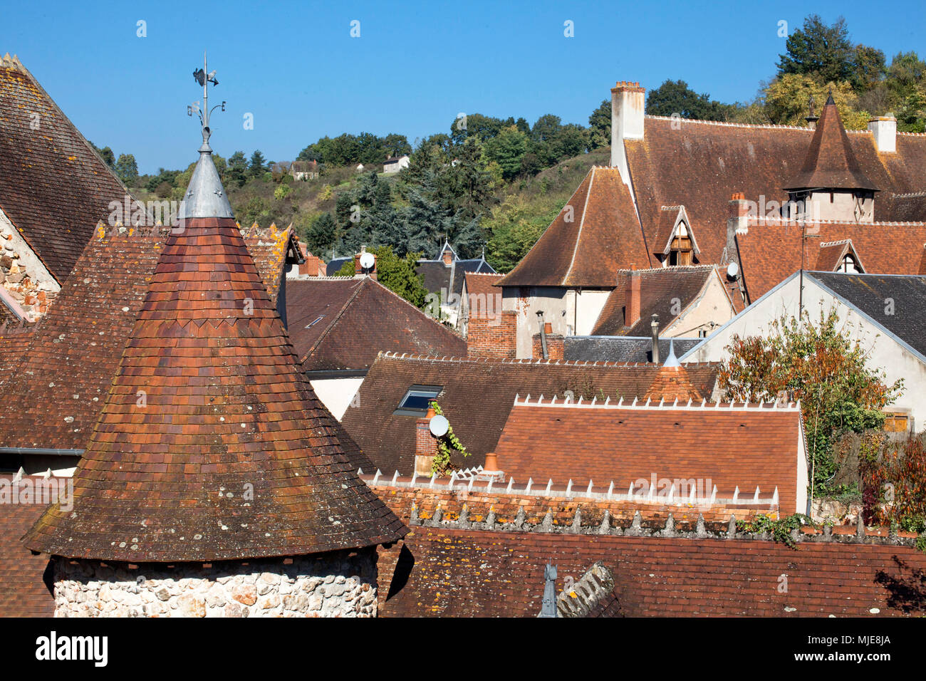 Hérisson, French municipality, tiled roofs - Stock Image