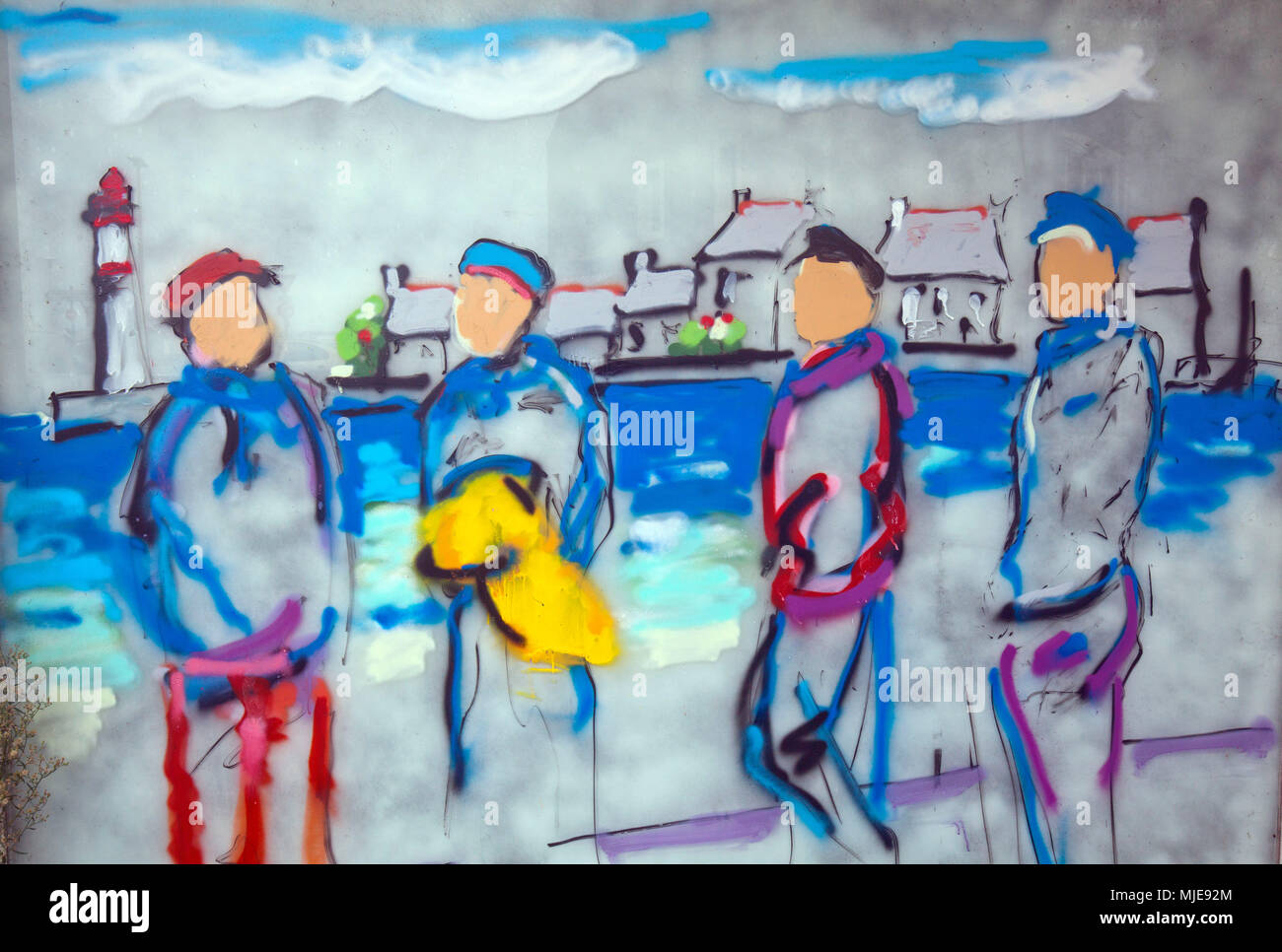 naive painting of the seafaring - Stock Image