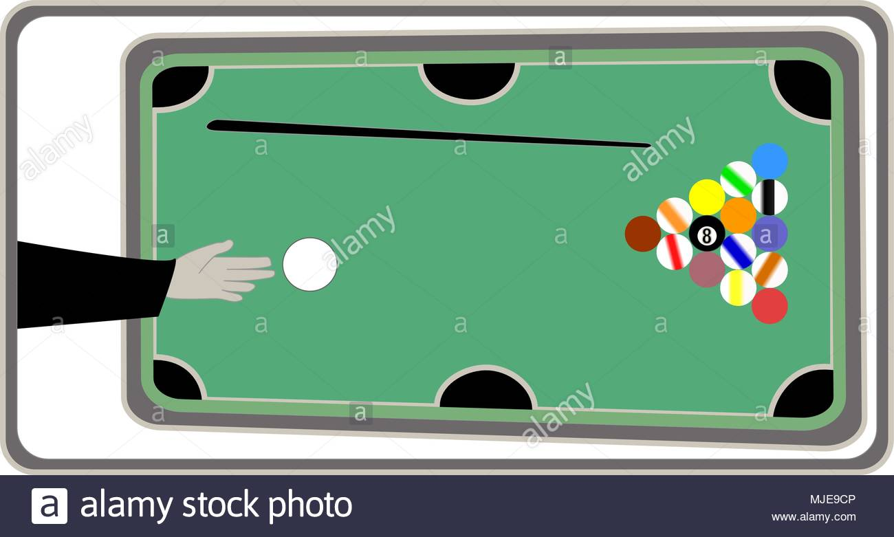 Pocket billiard or pool billiard sport or game with green table and six pockets - Stock Vector
