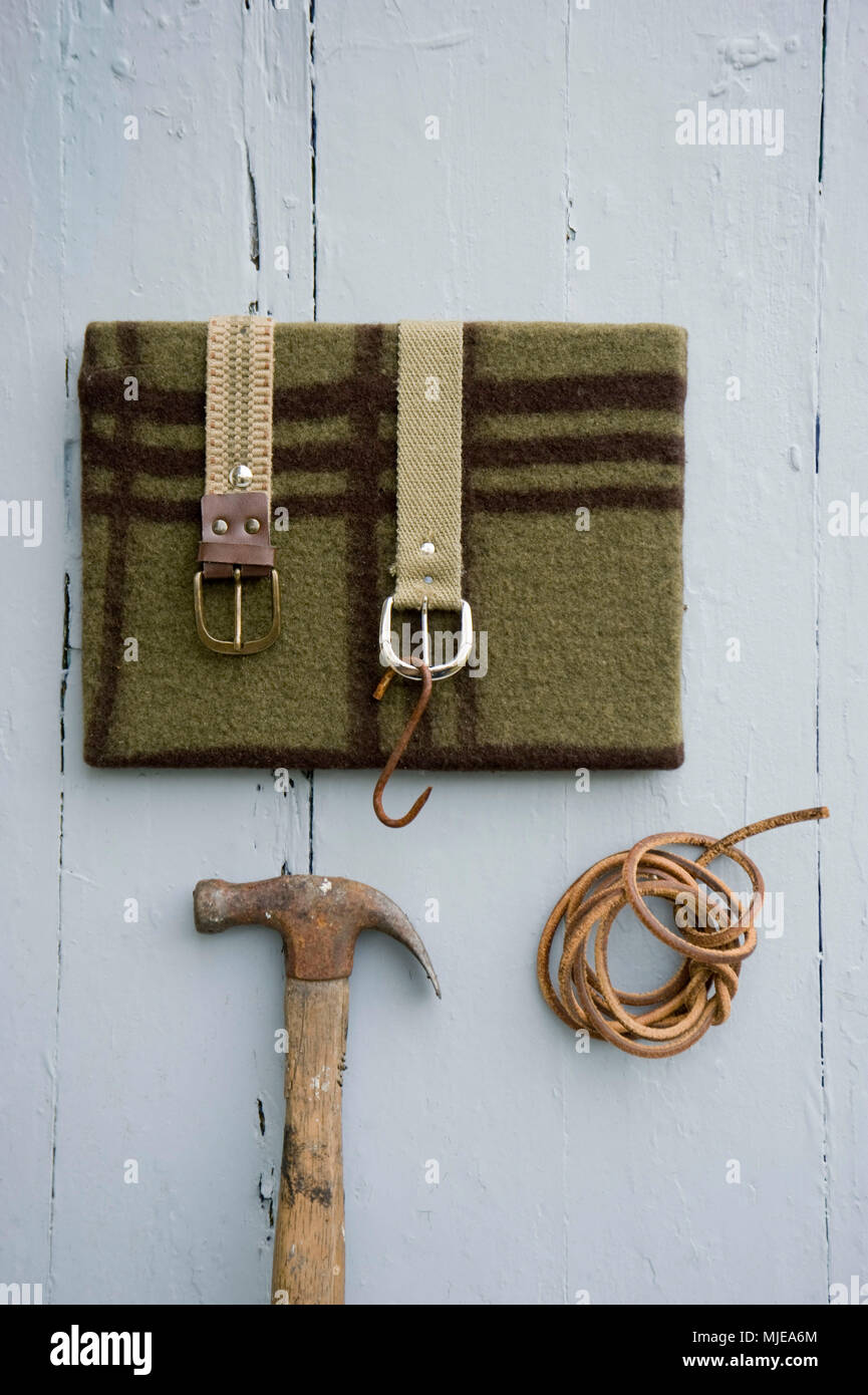 DIY wardrobe made of old belts - Stock Image