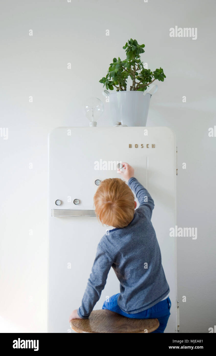 DIY, flower pot on fridge, child fix fridge magnets made of bottle cap Stock Photo