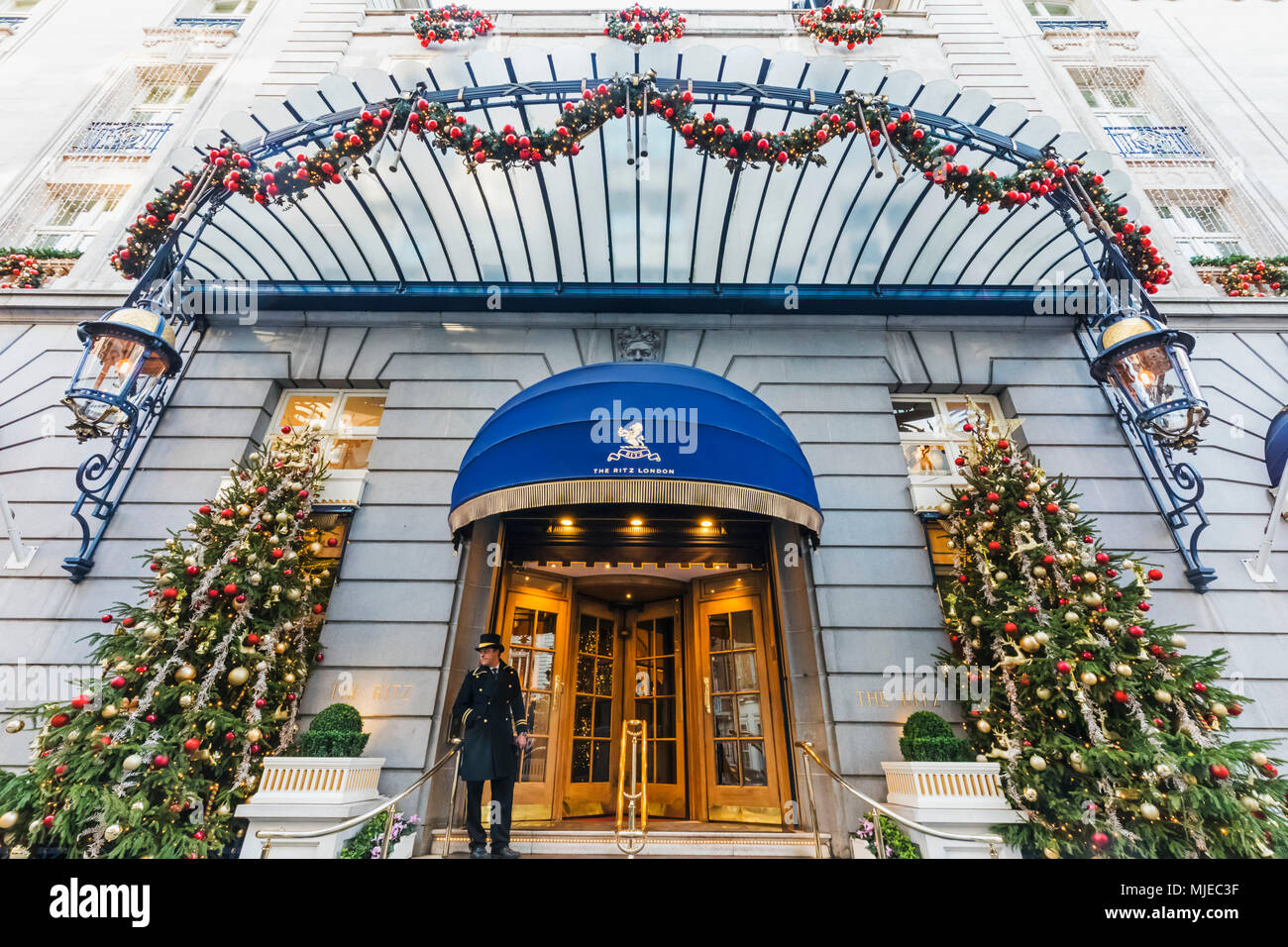 England, London, Piccadilly, The Ritz Hotel with Christmas Decorations - Stock Image