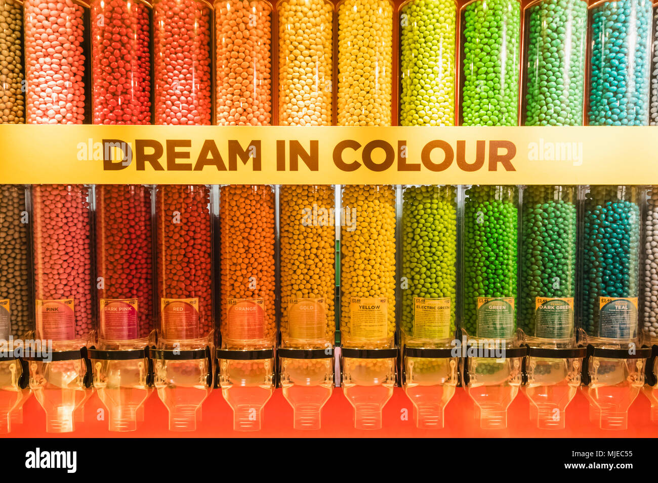 England, London, Leicester Square, M&Ms Store - Stock Image