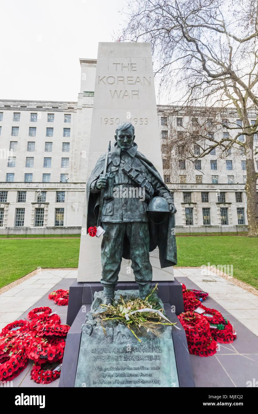 England, London, Westminster, Victoria Embankment Gardens, Korean War Memorial - Stock Image