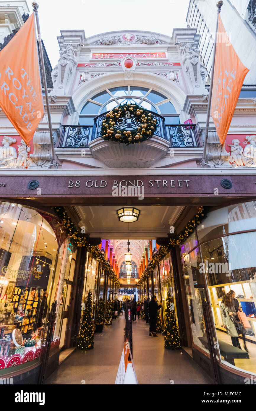 England, London, Piccadilly, Old Bond Street, The Royal Arcade - Stock Image