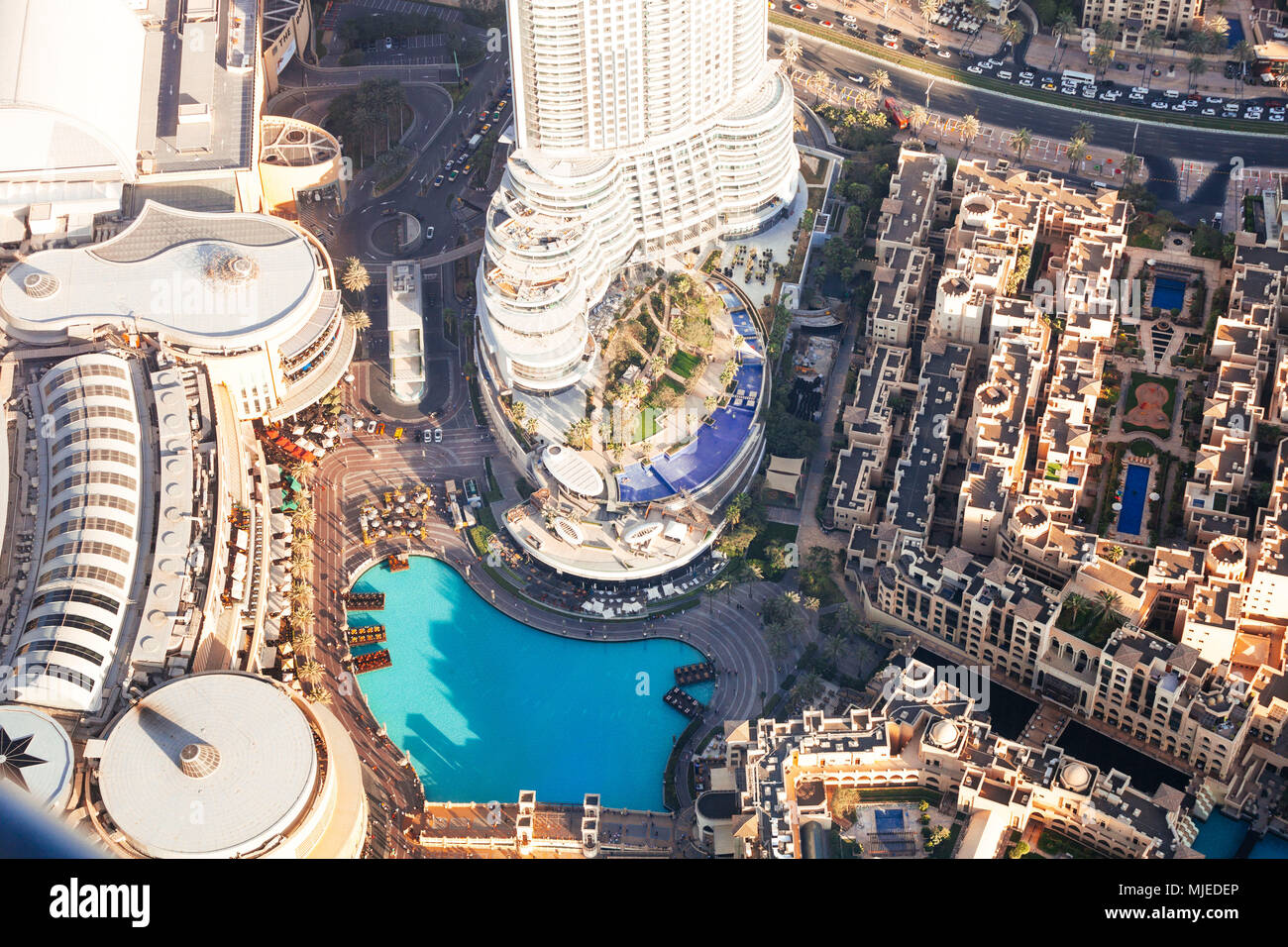 Dubai mall and fountain from above - Stock Image