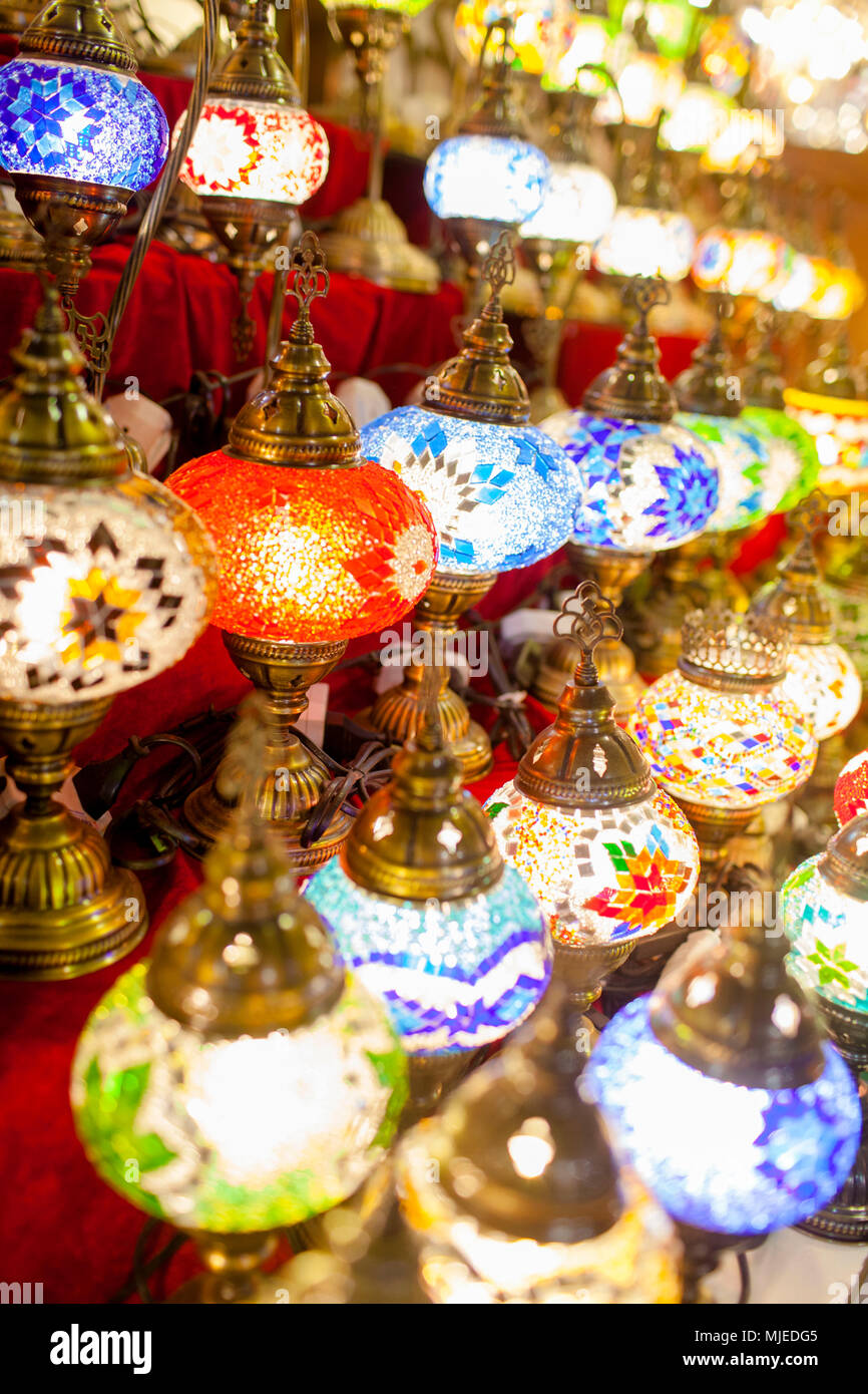 Dubai souk with handcrafted lights - Stock Image