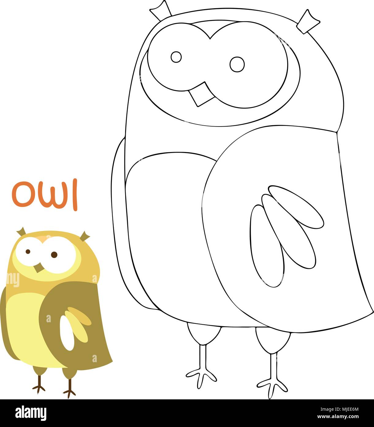 Kids coloring page - owl Stock Vector Art & Illustration, Vector ...