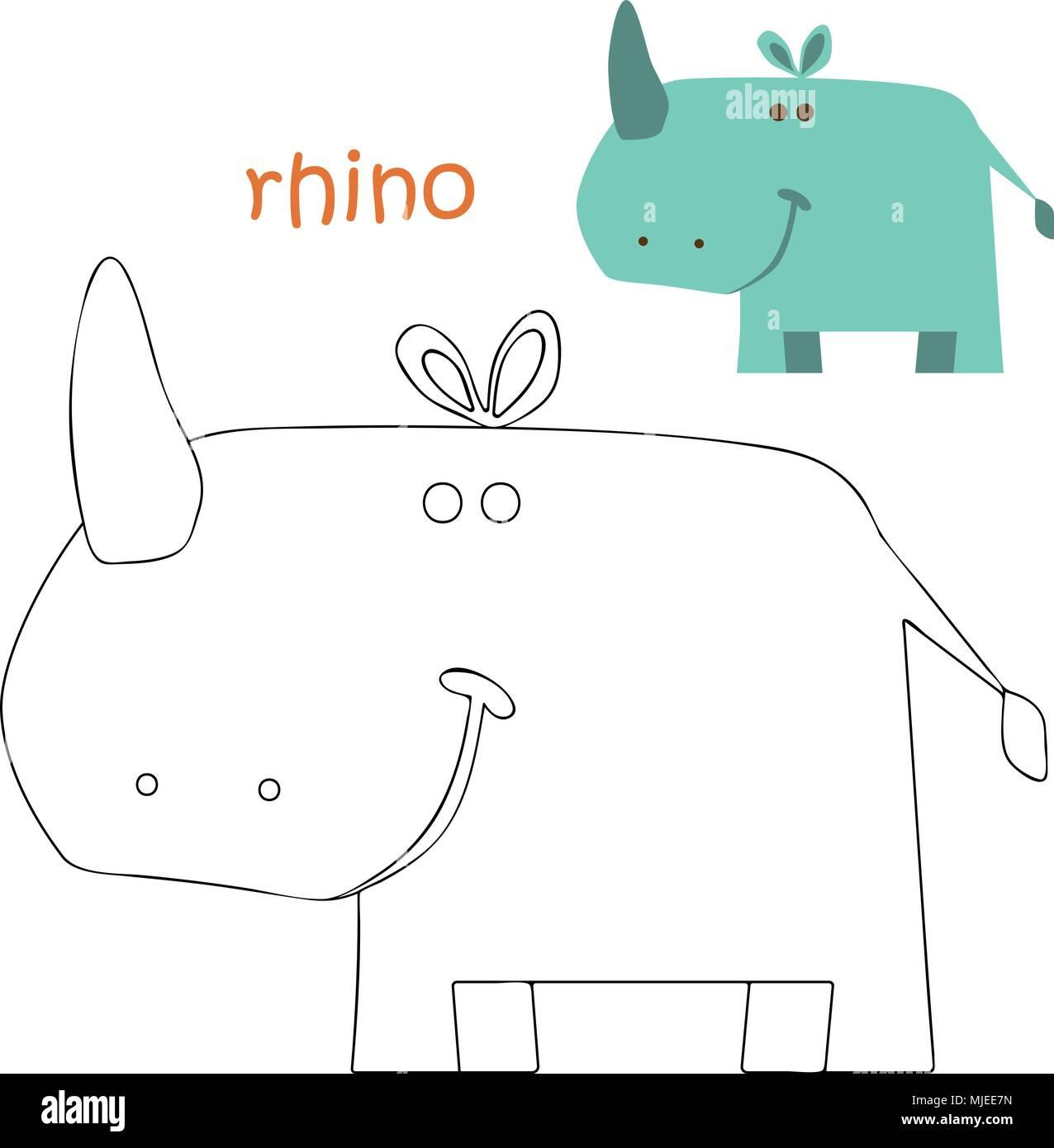 kids coloring page rhino MJEE7N