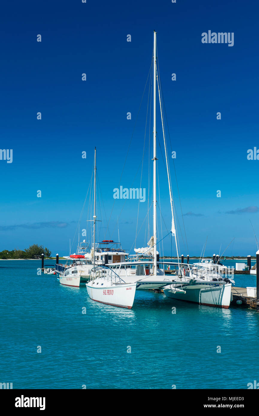 Luxus yachst on the north shore of Providenciales, Turks and Caicos - Stock Image