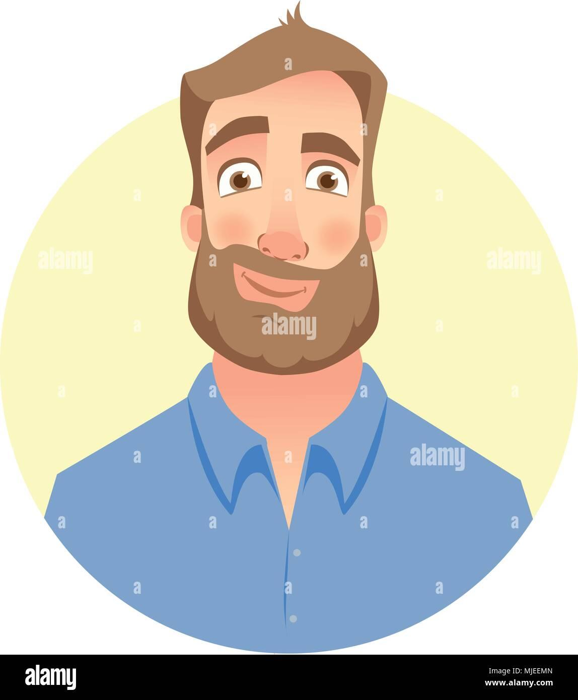 Face of man with beard - Stock Vector
