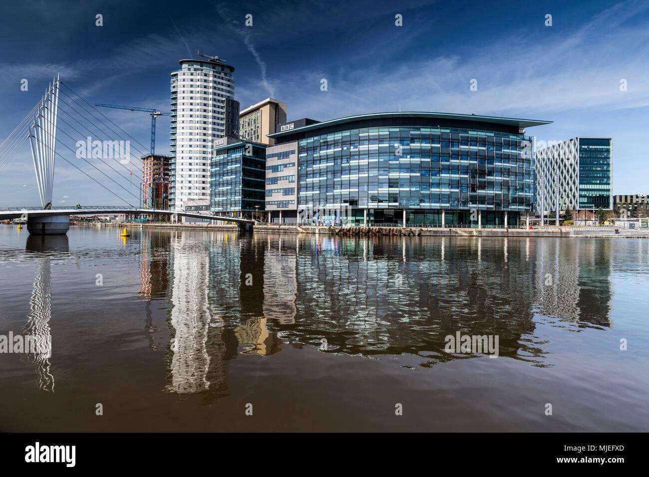 Europe, England, United Kingdom, Manchester - Media City Centre - The BBC Centre and Media City at Salford Quays - Stock Image