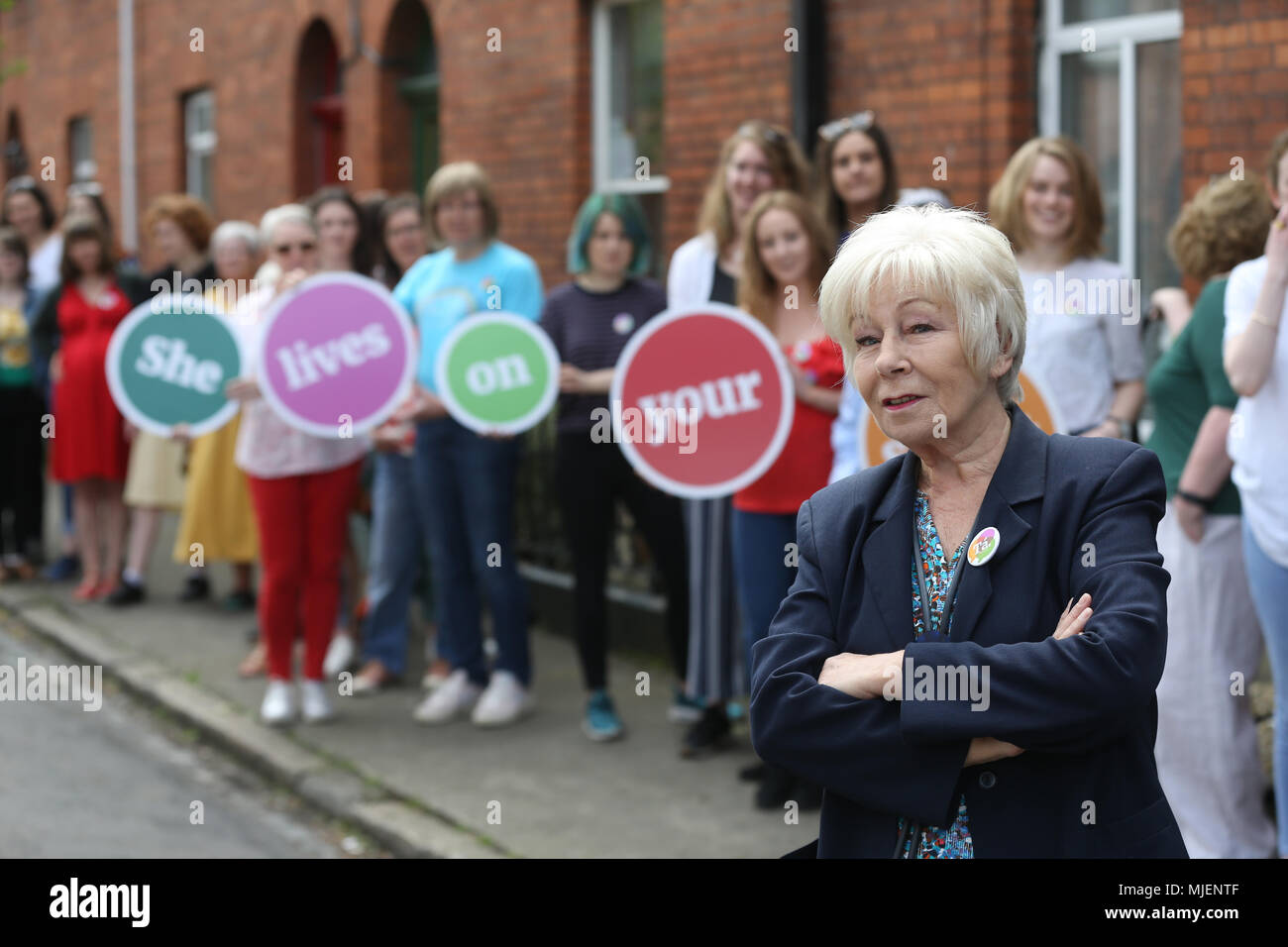 """5/5/2018. Together for Yes Launch.  Eilish O'Carroll from Mrs Brown's Boys with mothers, daughters, grannies and aunties at a """"She lives on your Street""""photocall in Phibsborough, Dublin in support of a Yes Vote in the forthcoming referendum on the 8th Amendment of the Constitution, which seeks to change the existing restrictions on women access to abortion facilities in Ireland. Photo: RollingNews.ie - Stock Image"""