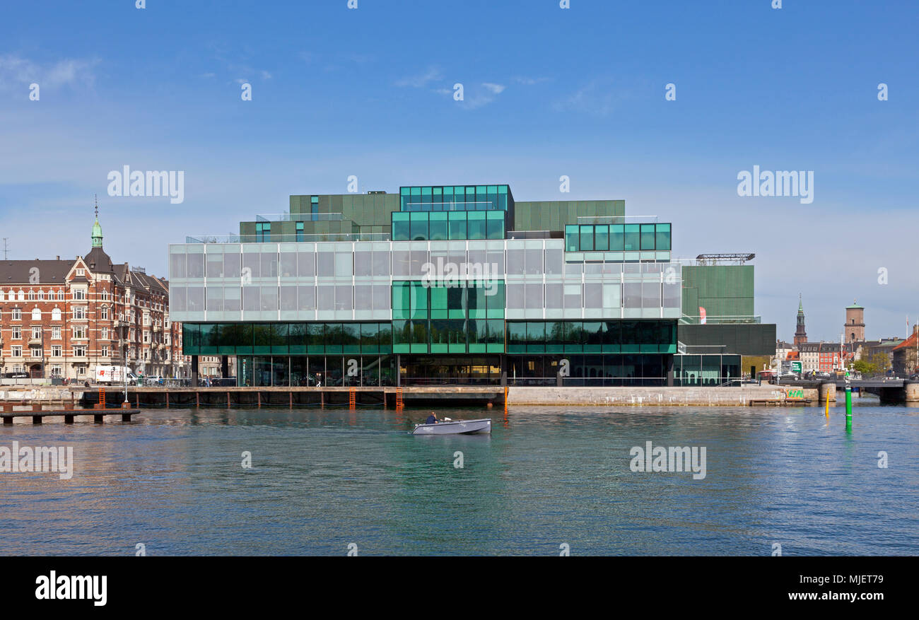 Copenhagen, Denmark. 5th May, 2018. The BLOX building, a new prestige building for architecture and design at the waterfront at Frederiksholm Canal next to the Black Diamond in the inner harbour. The building houses the Danish Architecture Centre and a number of companies working with future solutions for cities. The building was inaugurated by H.M. Queen Margrethe II yesterday - today open house to a festive opening day. BLOX is the original name of the old brew-house property where it is situated. Architects OMA. Credit: Niels Quist/Alamy Live News - Stock Image