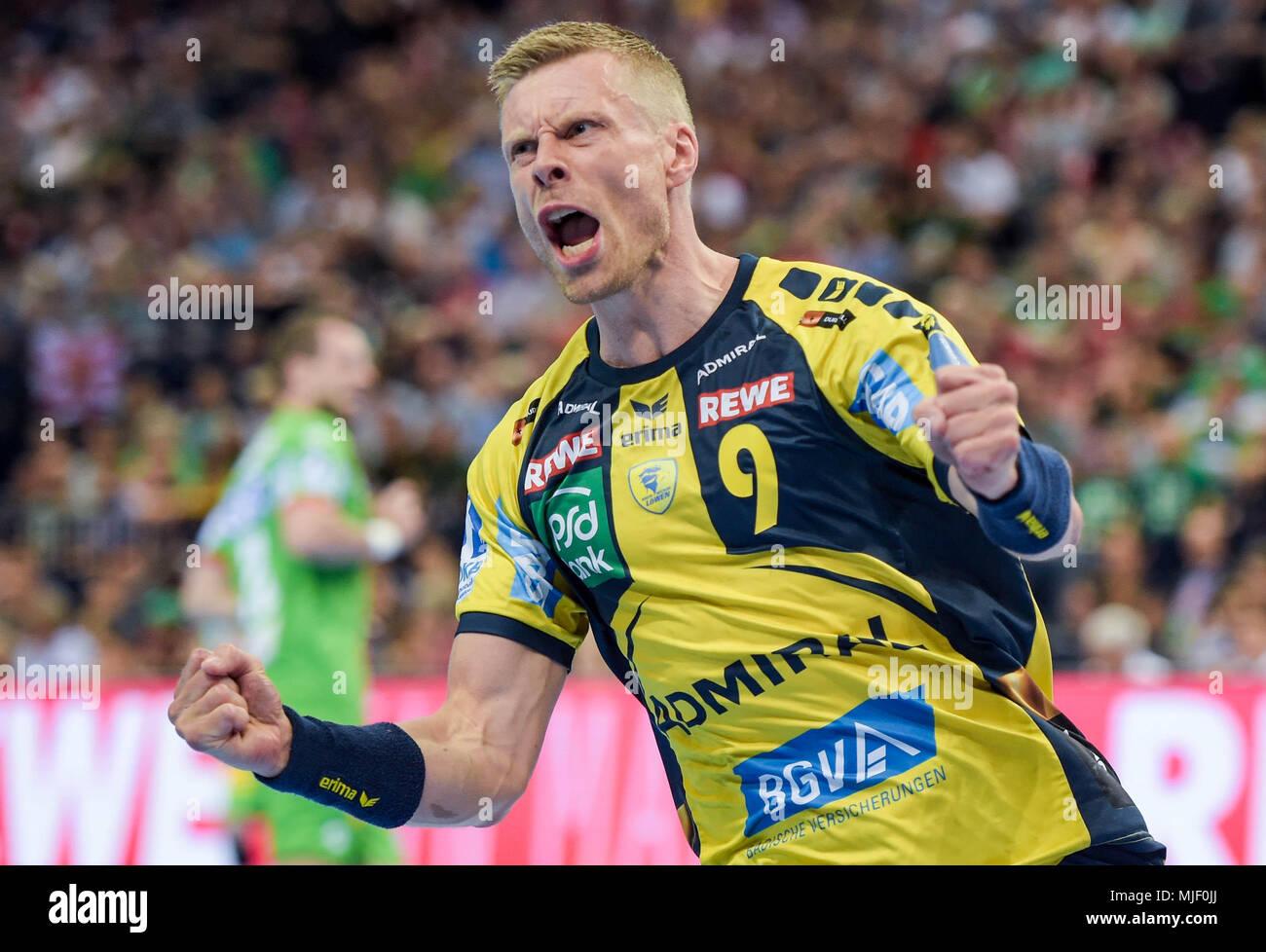 05 May 2018, Germany, Hamburg: Handball: DHB-Pokal, SC Magdeburg vs Rhine-Neckar Lions at the Barclaycard Arena: Rhine's Gudjon Valur Sigurdsson. Photo: Axel Heimken/dpa - Stock Image