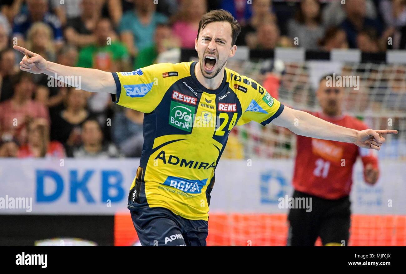 05 May 2018, Germany, Hamburg: Handball: DHB-Pokal, SC Magdeburg vs Rhine-Neckar Lions at the Barclaycard Arena: Rhine's Patrick Groetzki. Photo: Axel Heimken/dpa - Stock Image