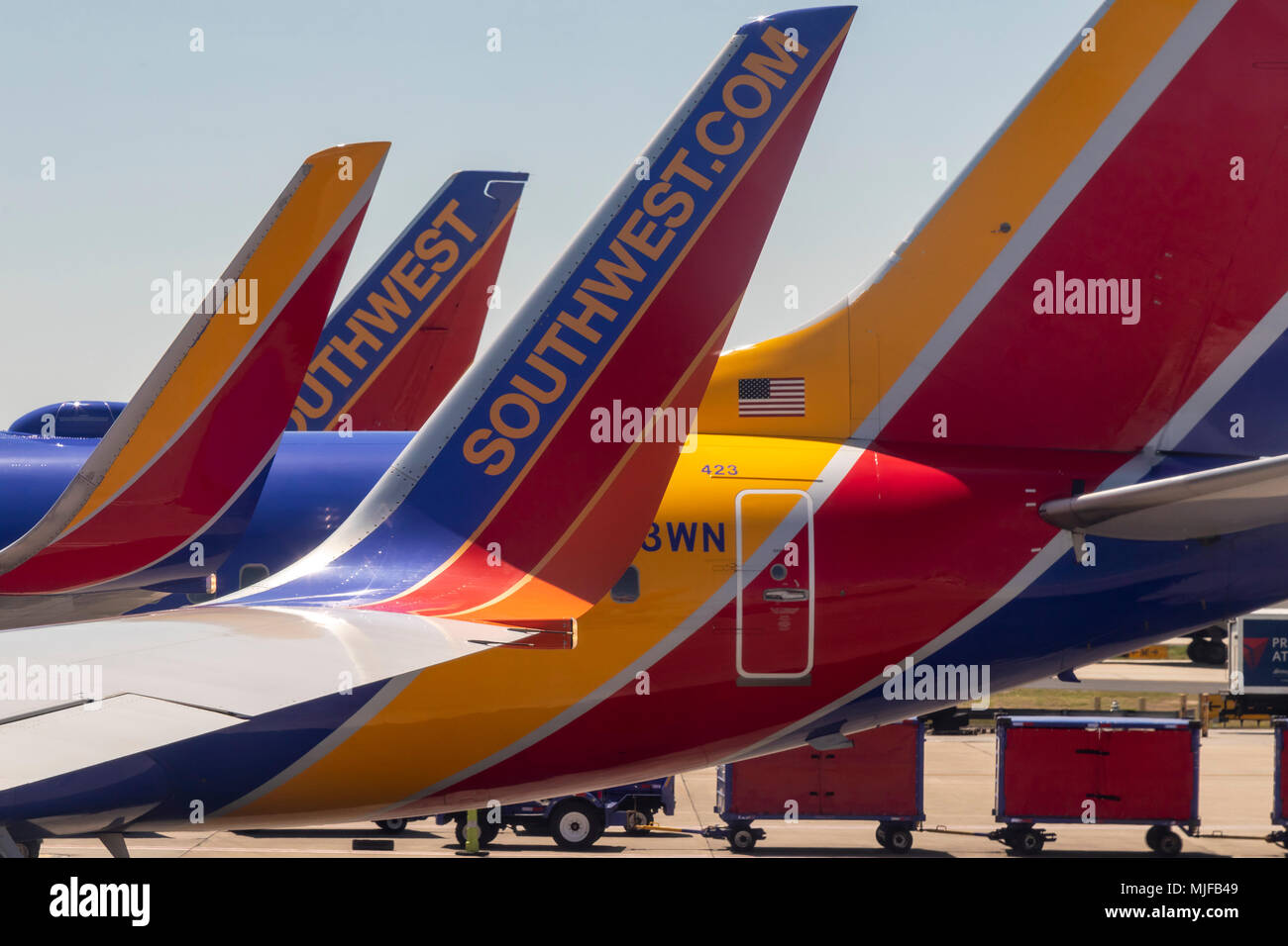 Atlanta, Georgia - Southwest Airlines jets on the ground at the Atlanta airport. - Stock Image