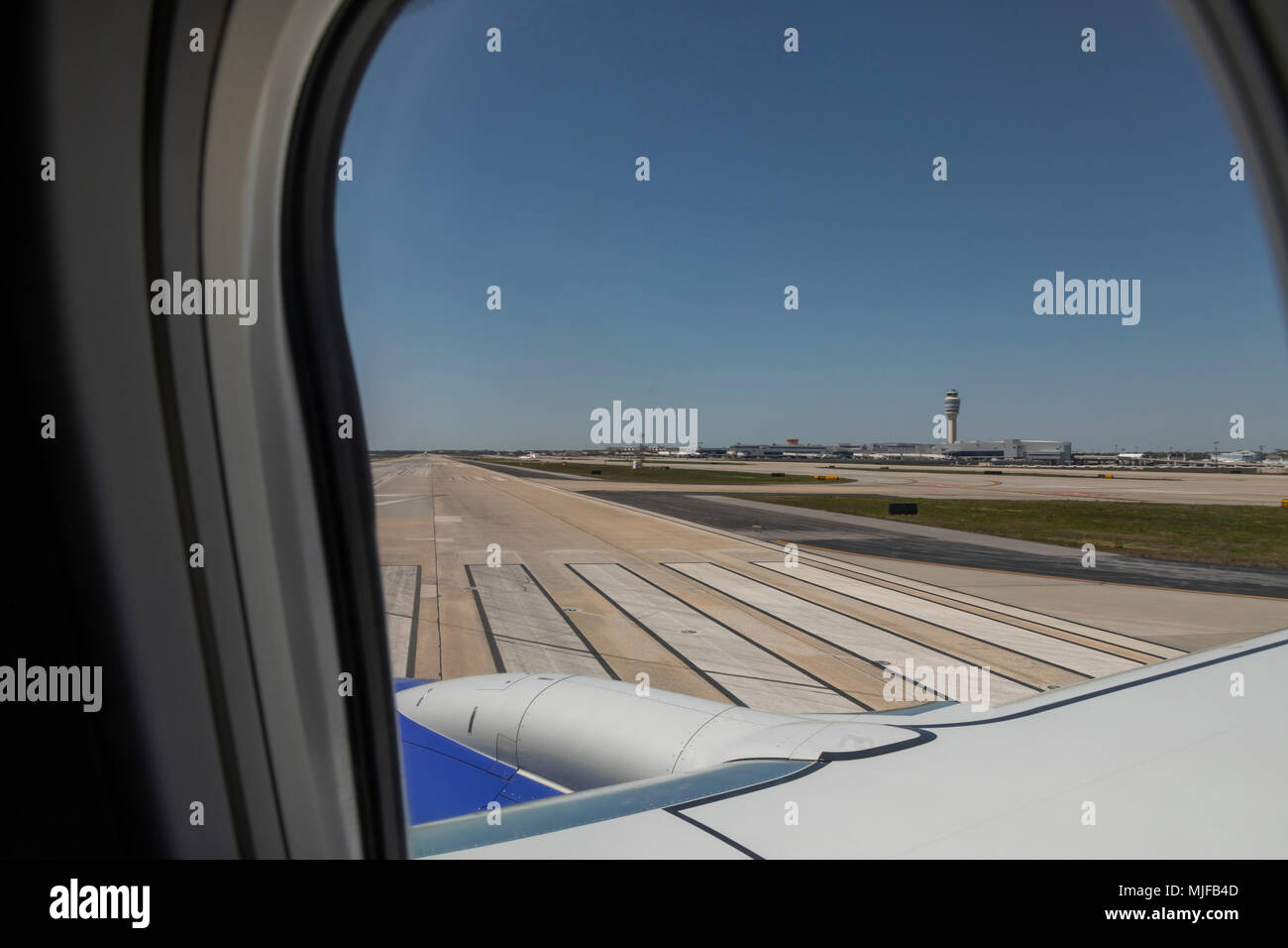 Atlanta, Georgia - The view from a Southwest Airlines jet about to take off from the Atlanta airport. - Stock Image