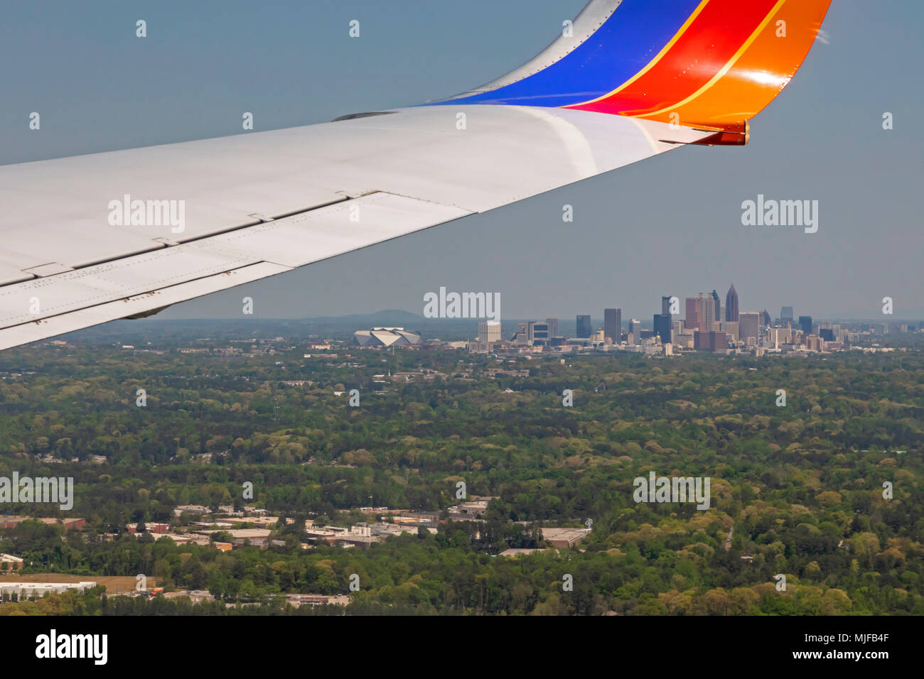 Atlanta, Georgia - A Southwest Airlines jet on final approach for landing at the Atlanta airport. - Stock Image