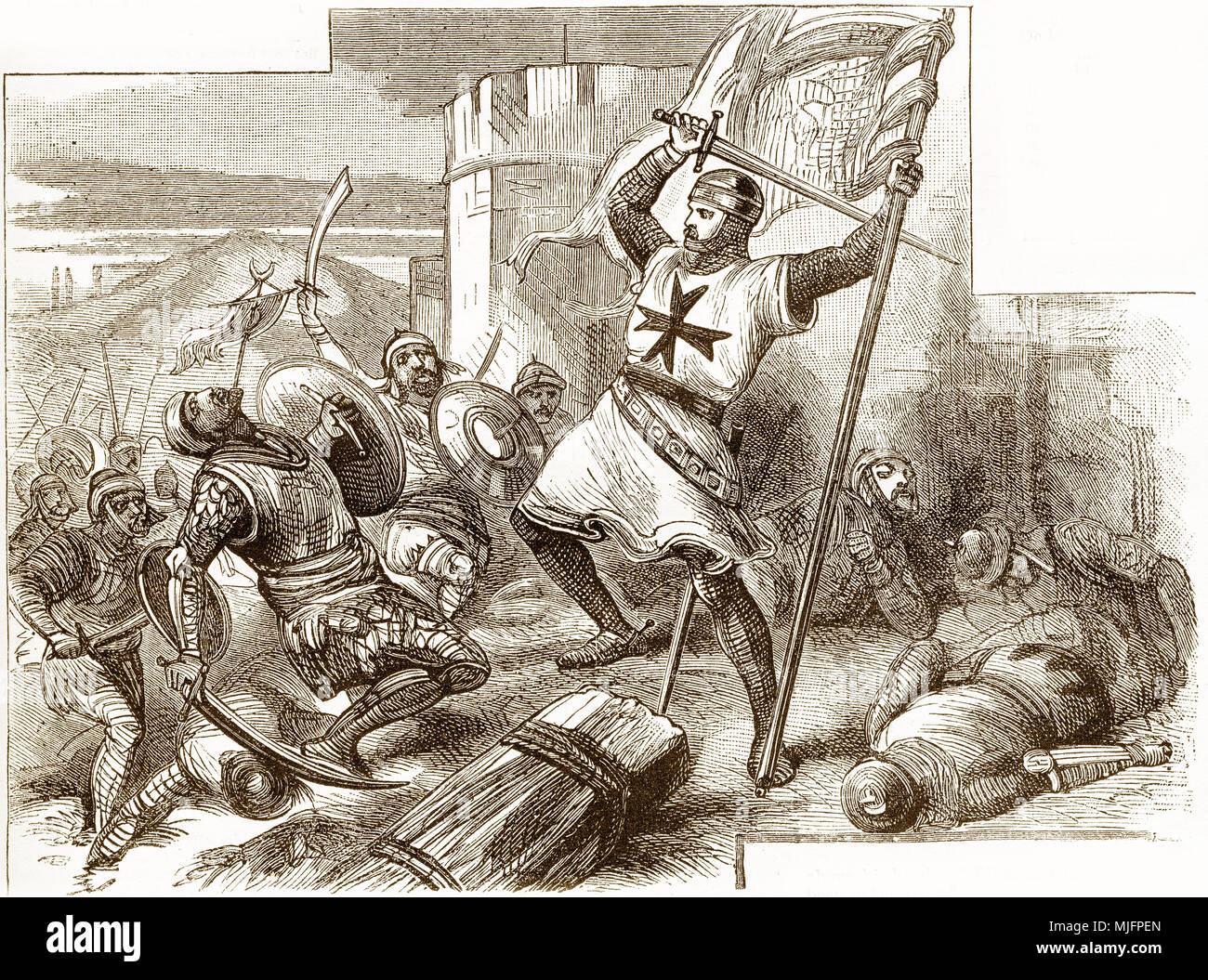 Engraving of a knight battling Moslems during one of the crusades. From an original engraving in the Boys of England magazine 1894. - Stock Image