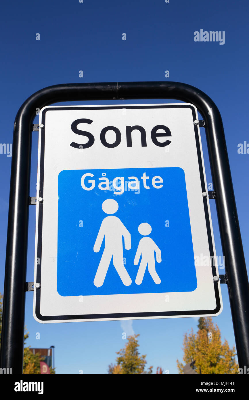 Trafic sign at the beginning of a Norwegian pedestrian zone (gagate sone). Stock Photo