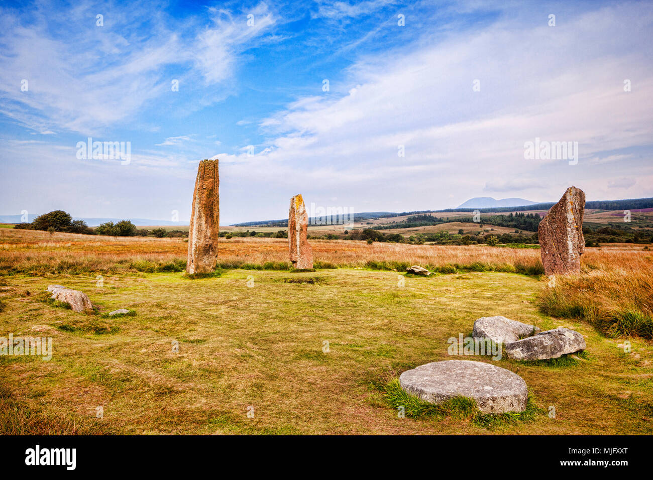 Machrie Moor 2 stone circle, a 4000 year old megalithic monument on the island of Arran, North Ayrshire, Scotland. - Stock Image