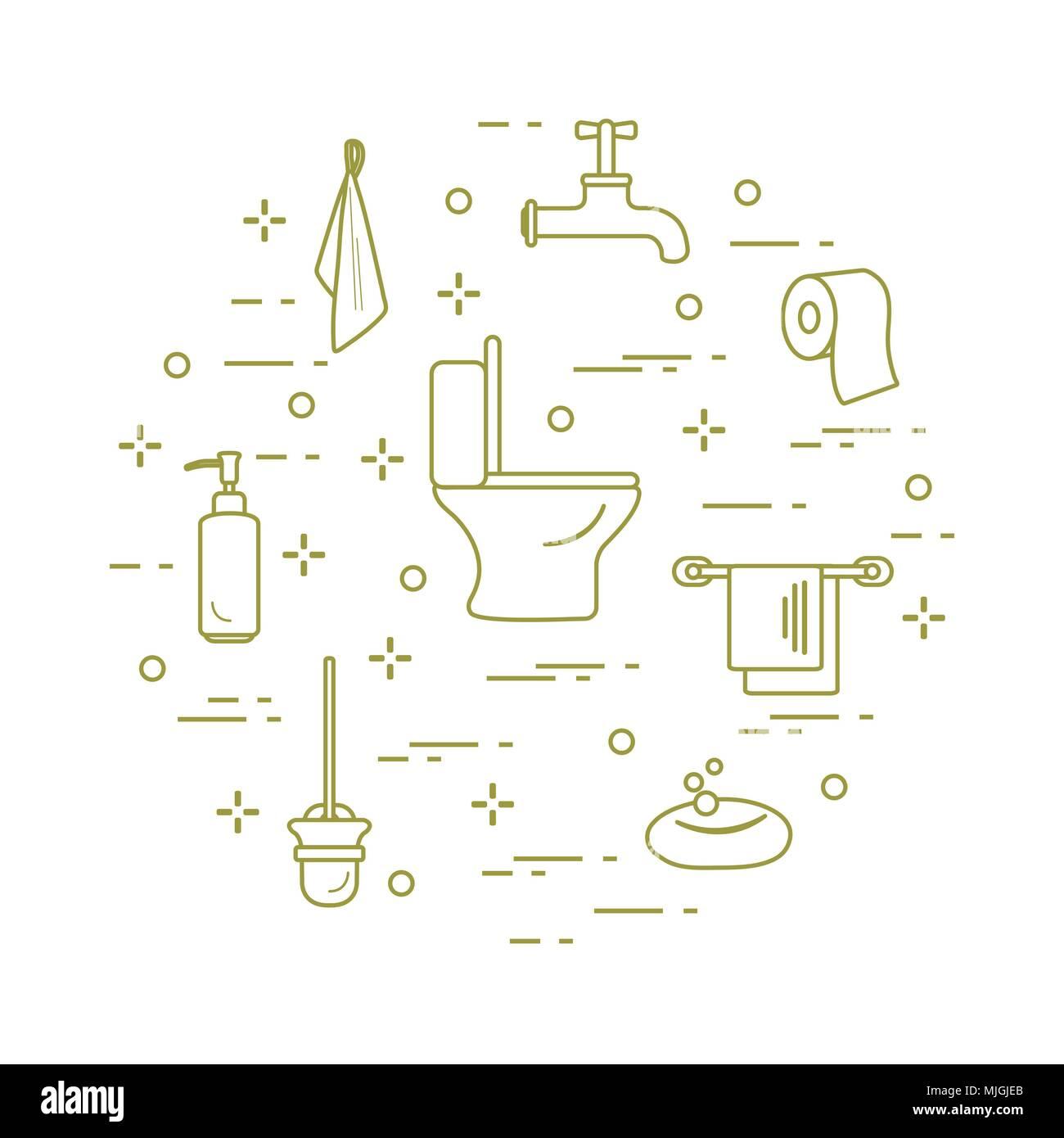 Toilet bowl, toilet paper, soap dispenser, brush for toilet bowl ...