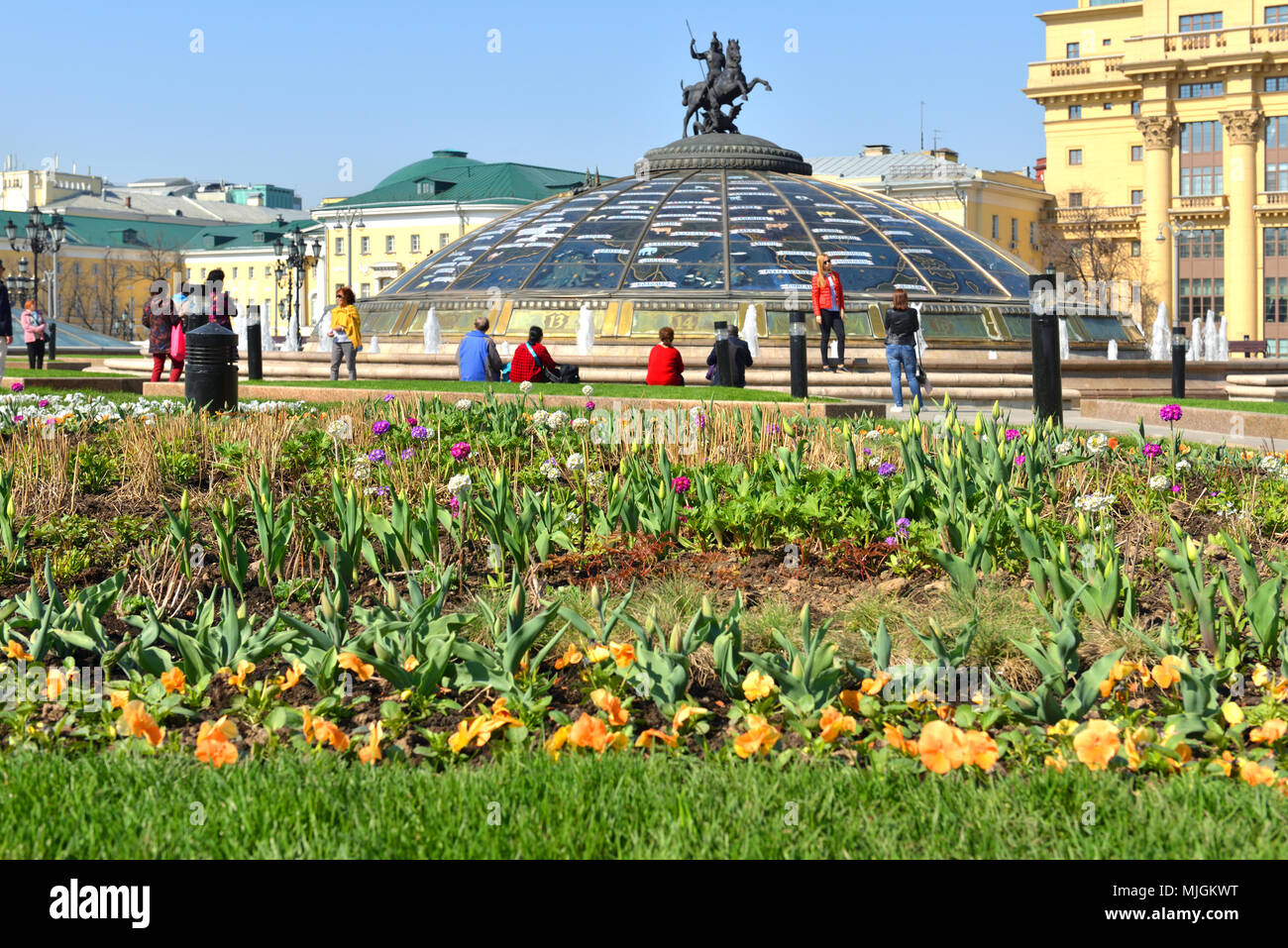 Flowers on Manege square on background of Monument on glass cupola to Saint George and Dragon Stock Photo