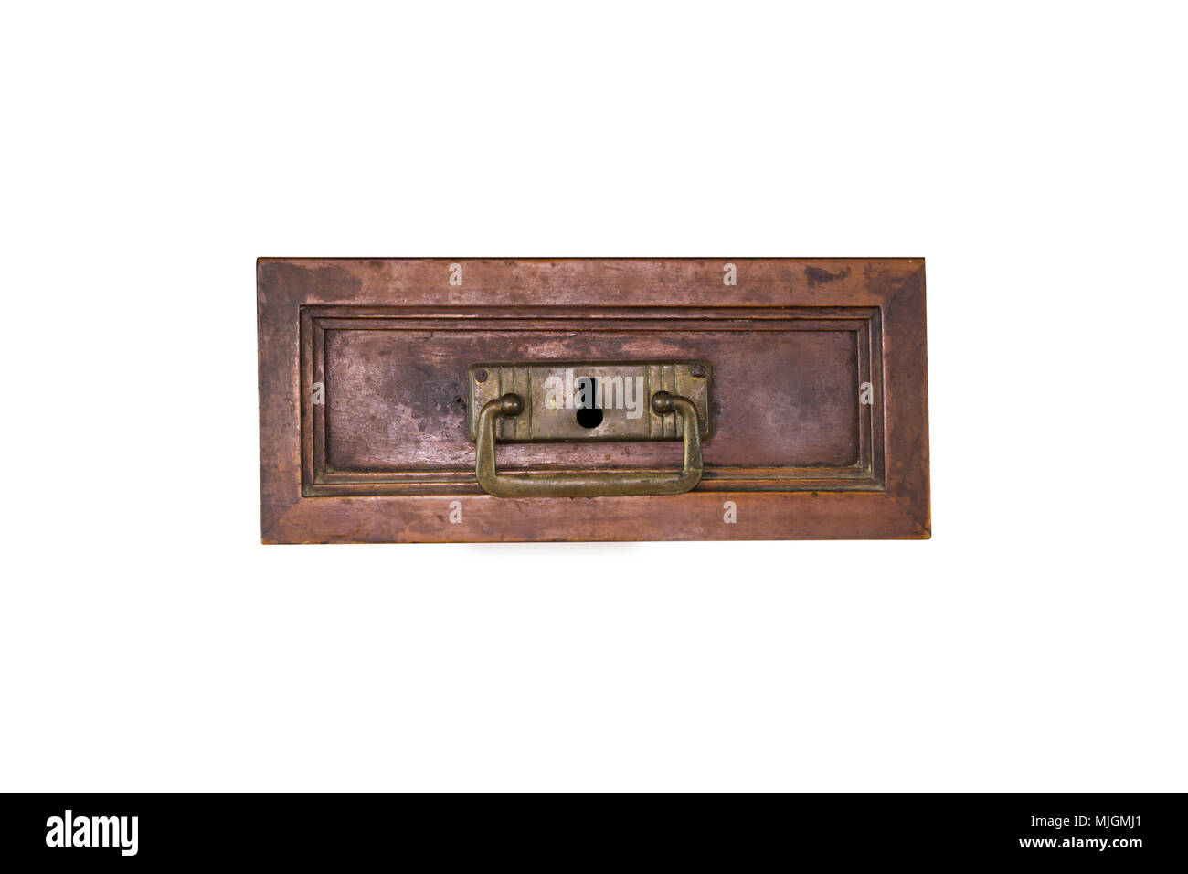 white drawer front. Vintage Wooden Desk Drawer Front View Isolated On White Background - Stock Image 5
