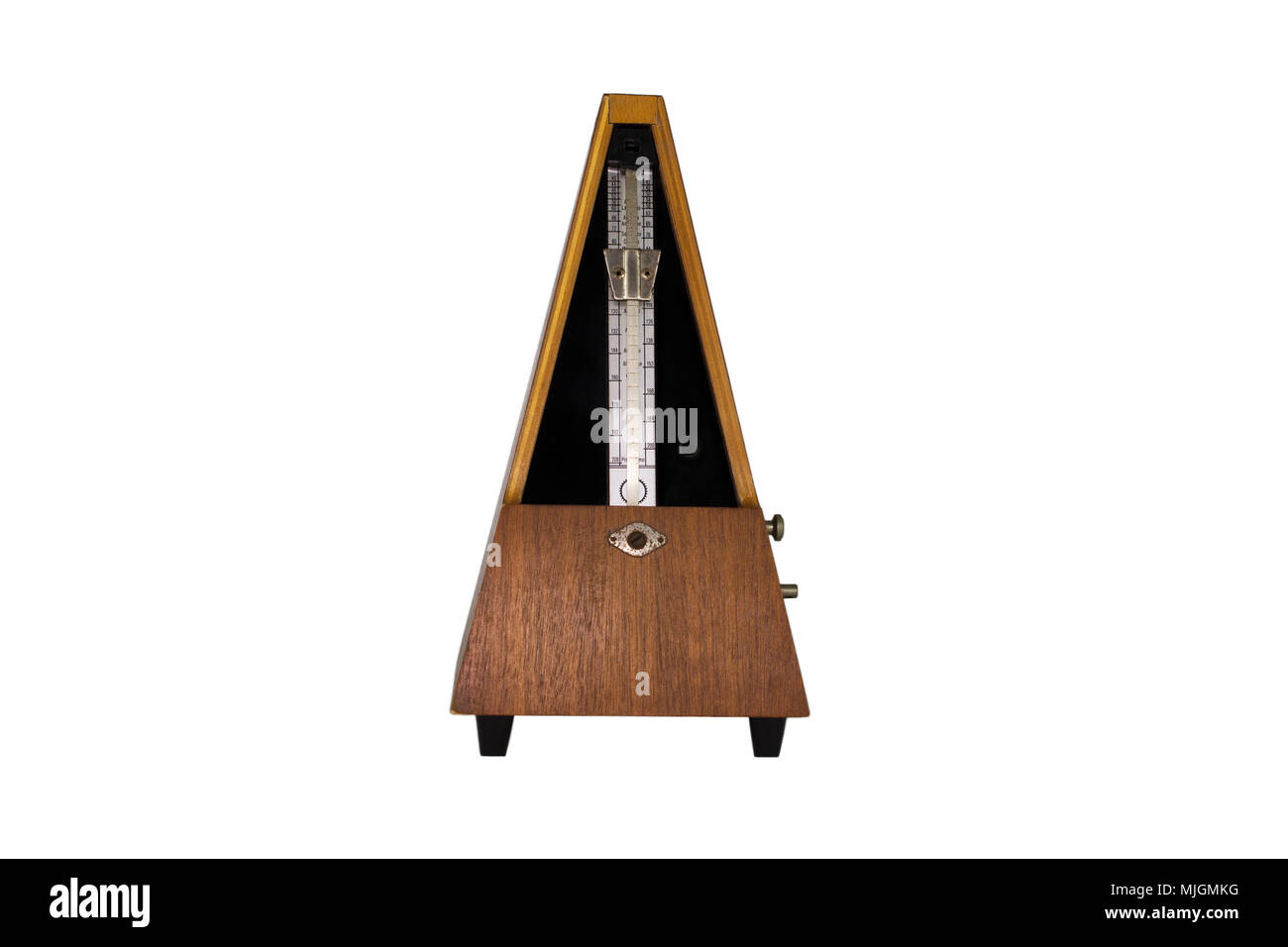 Vintage Metronome Isolated On White Background. Musical Equipment - Stock Image