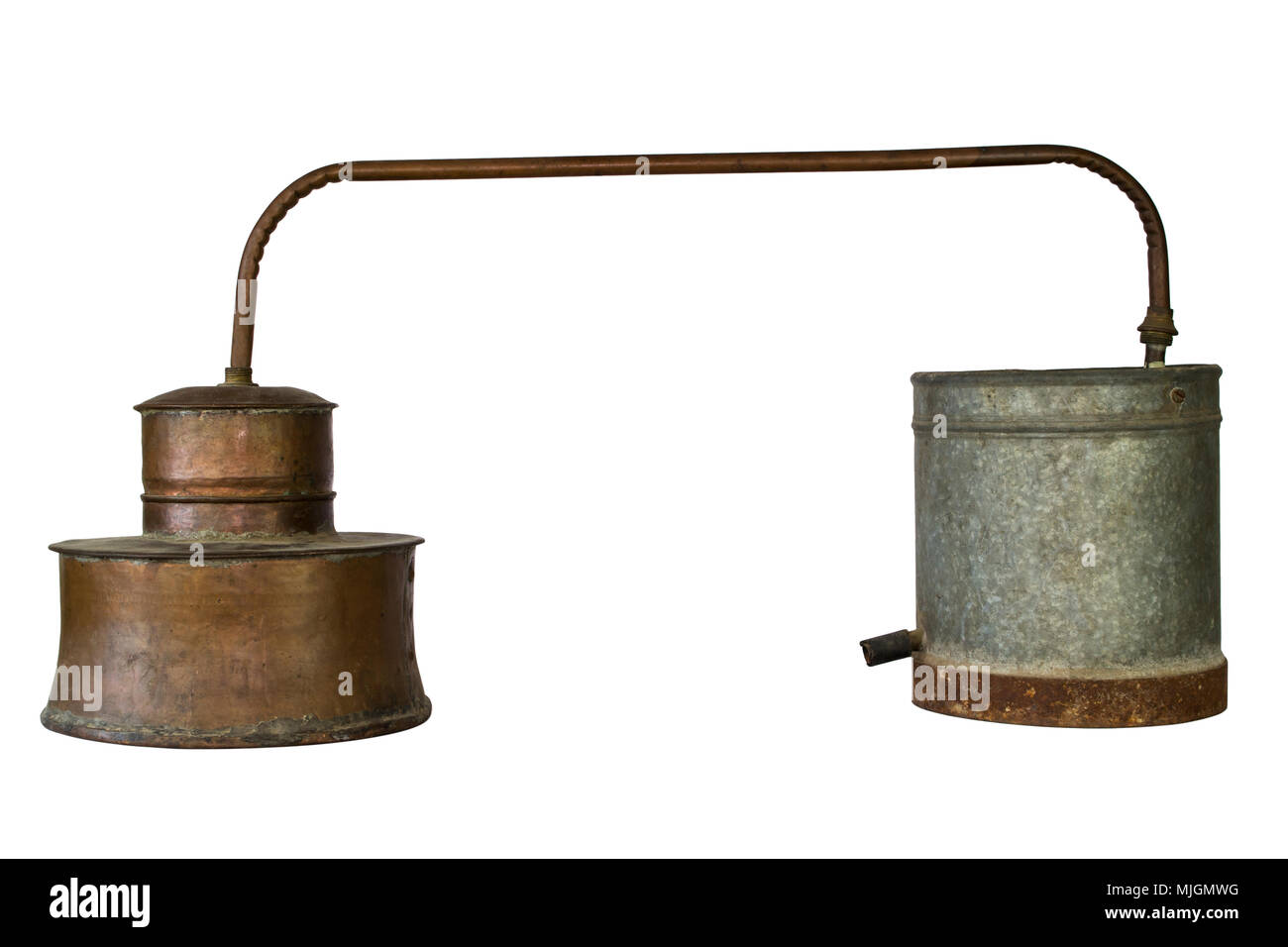 Alcohol Distillery For Making Schnapps, Whiskey, Brandy. Traditional Copper Set Stock Photo