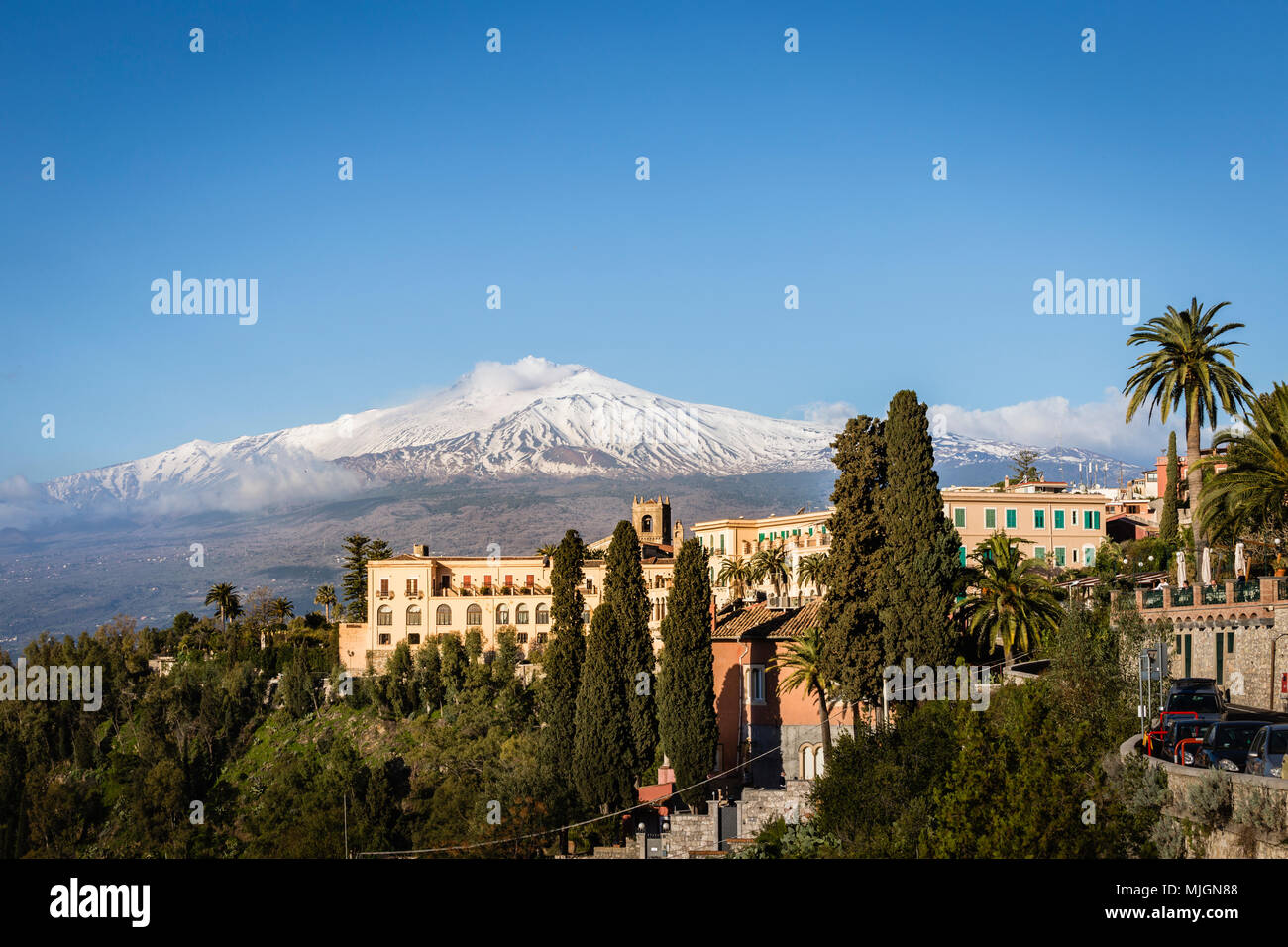 Town of Taormina with Mount Etna, Sicily. - Stock Image