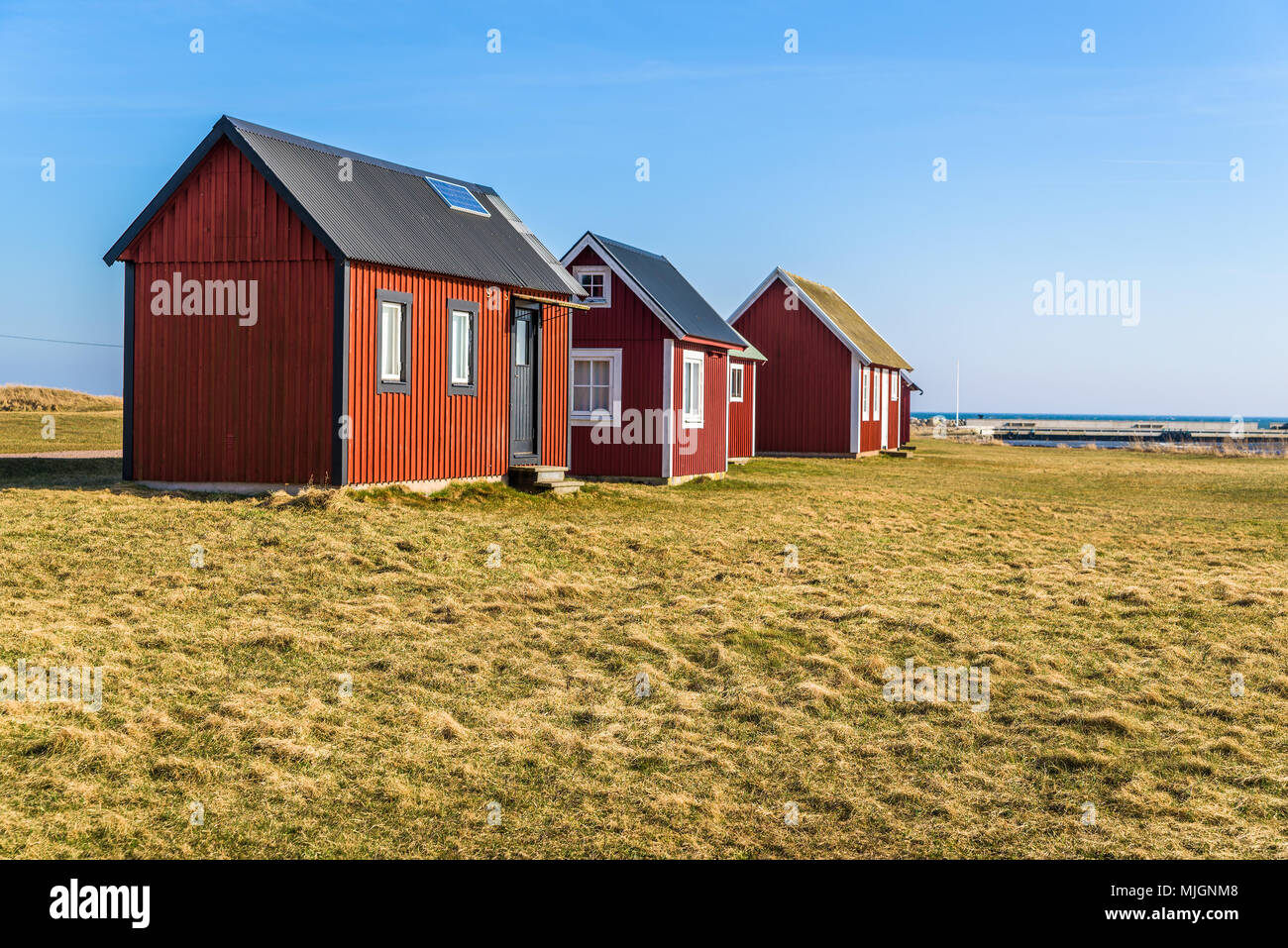 Kapelludden On Oland Sweden Red Wooden Fishing Cabins In A