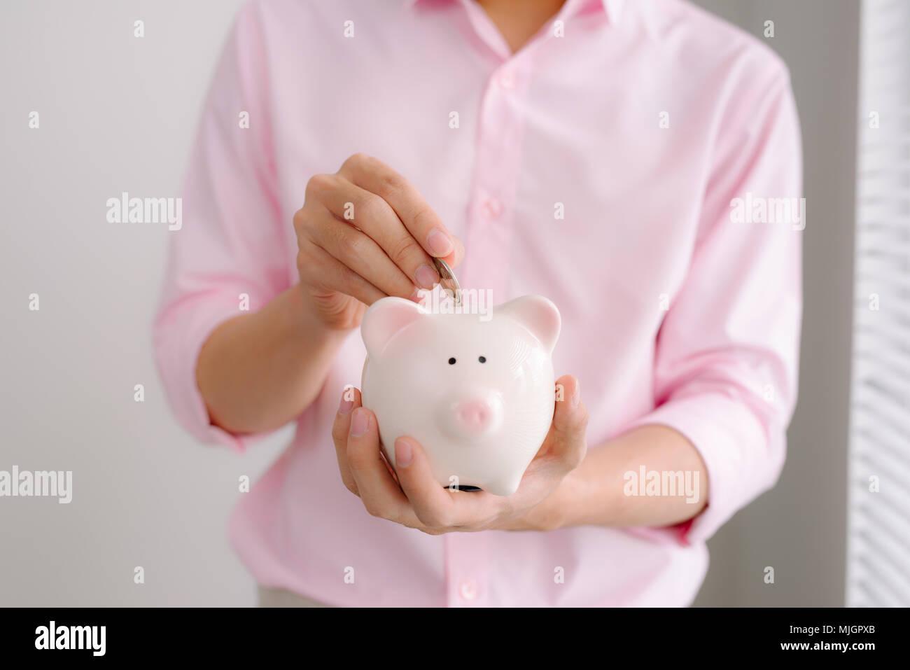 Man Hands Holding Big Pink Piggy Bank Stock Photo 183536707
