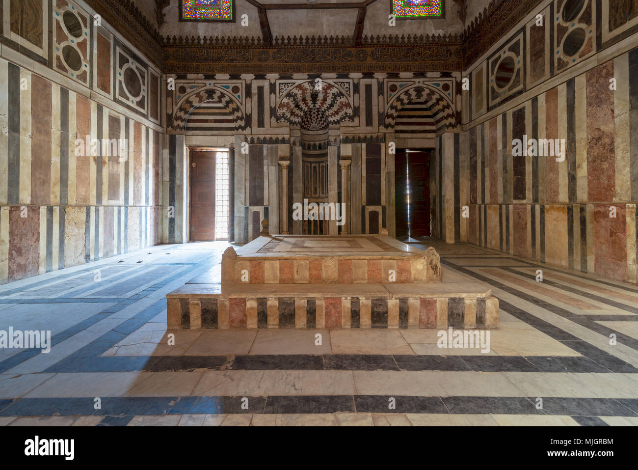 Front view of Mausoleum of Sultan Al Zahir Barquq at the Barquq complex located at al Muiz Street, Islamic Cairo, Egypt - Stock Image