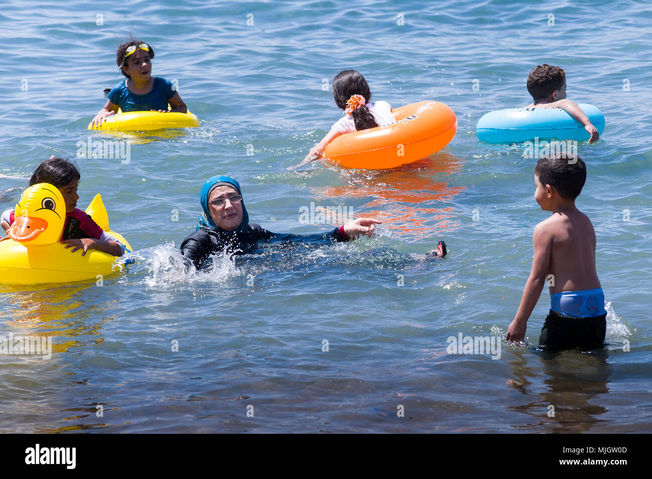 Aqaba is a Jordanian coastal city situated at the northeastern tip of the Red Sea. Aqaba is the largest city on the Gulf of Aqaba and Jordan's only co - Stock Image