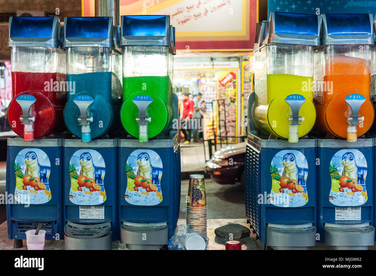 Fruit juice machines in Aqaba,al-ʻAqabah, a Jordanian coastal city situated at the northeastern tip of the Red Sea. - Stock Image