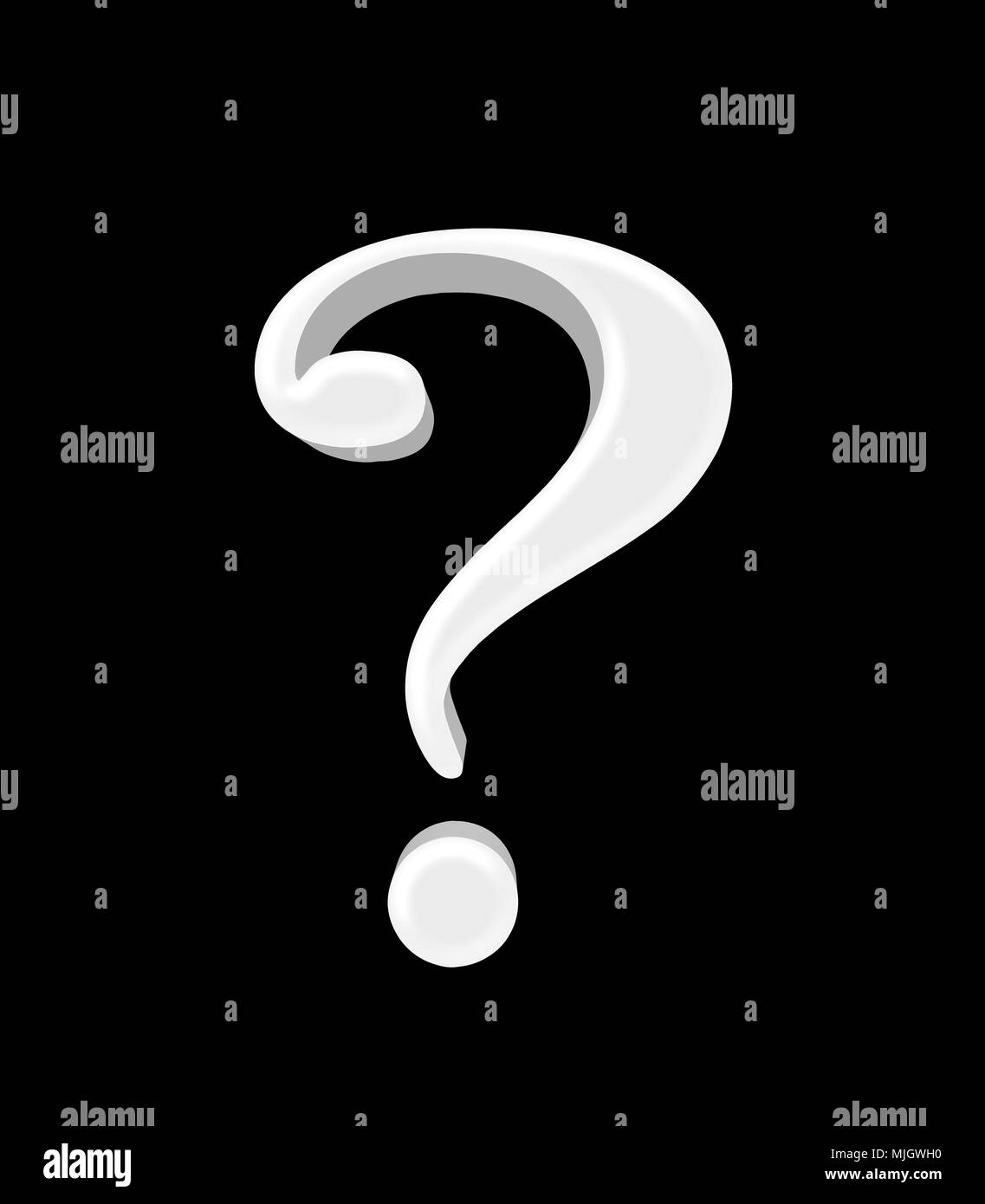 Stock Illustration - Large Three Dimensional White Question Mark , 3D Illustration, Isolated against the Black Background. - Stock Image