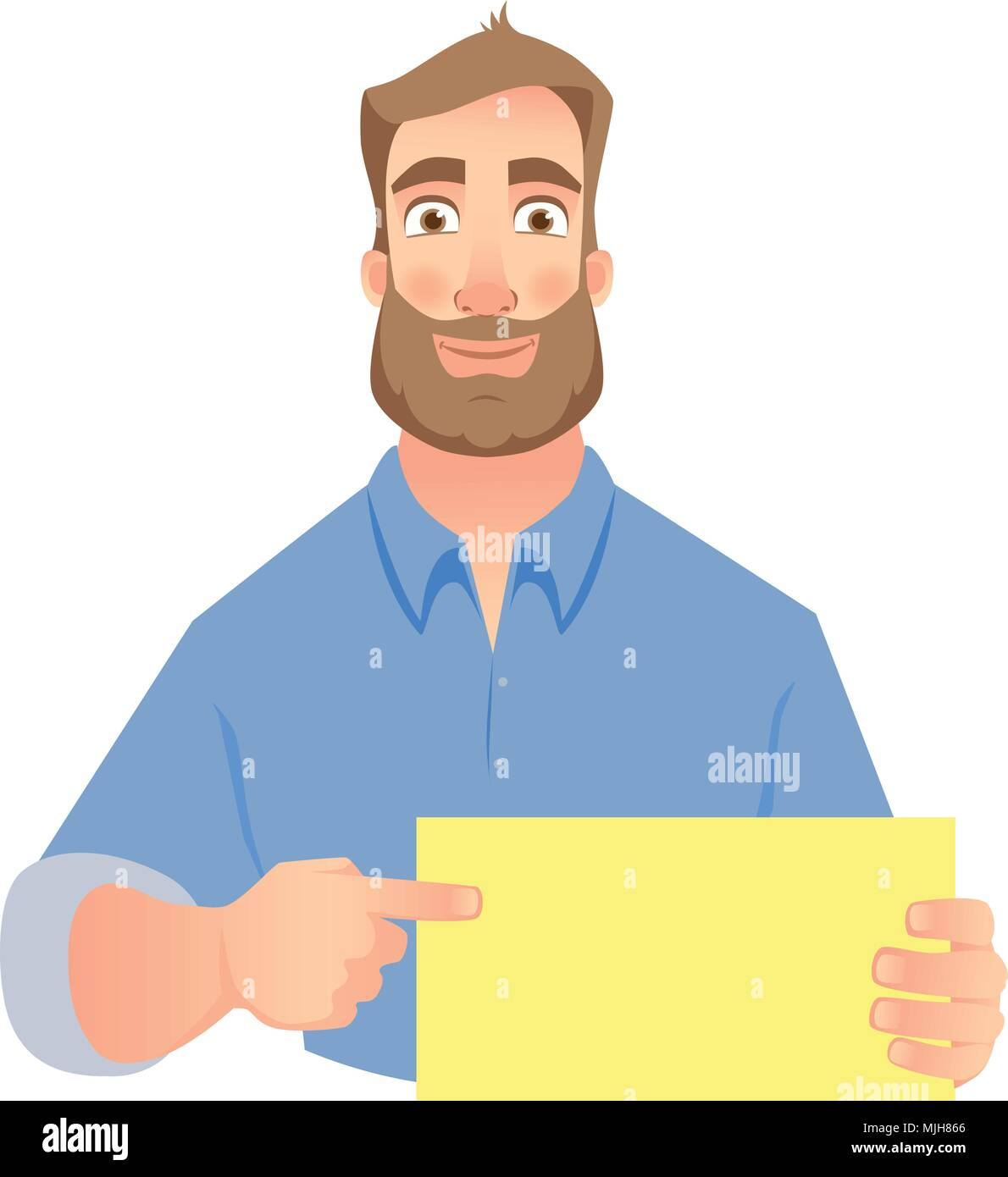 man holding blank sign Stock Vector