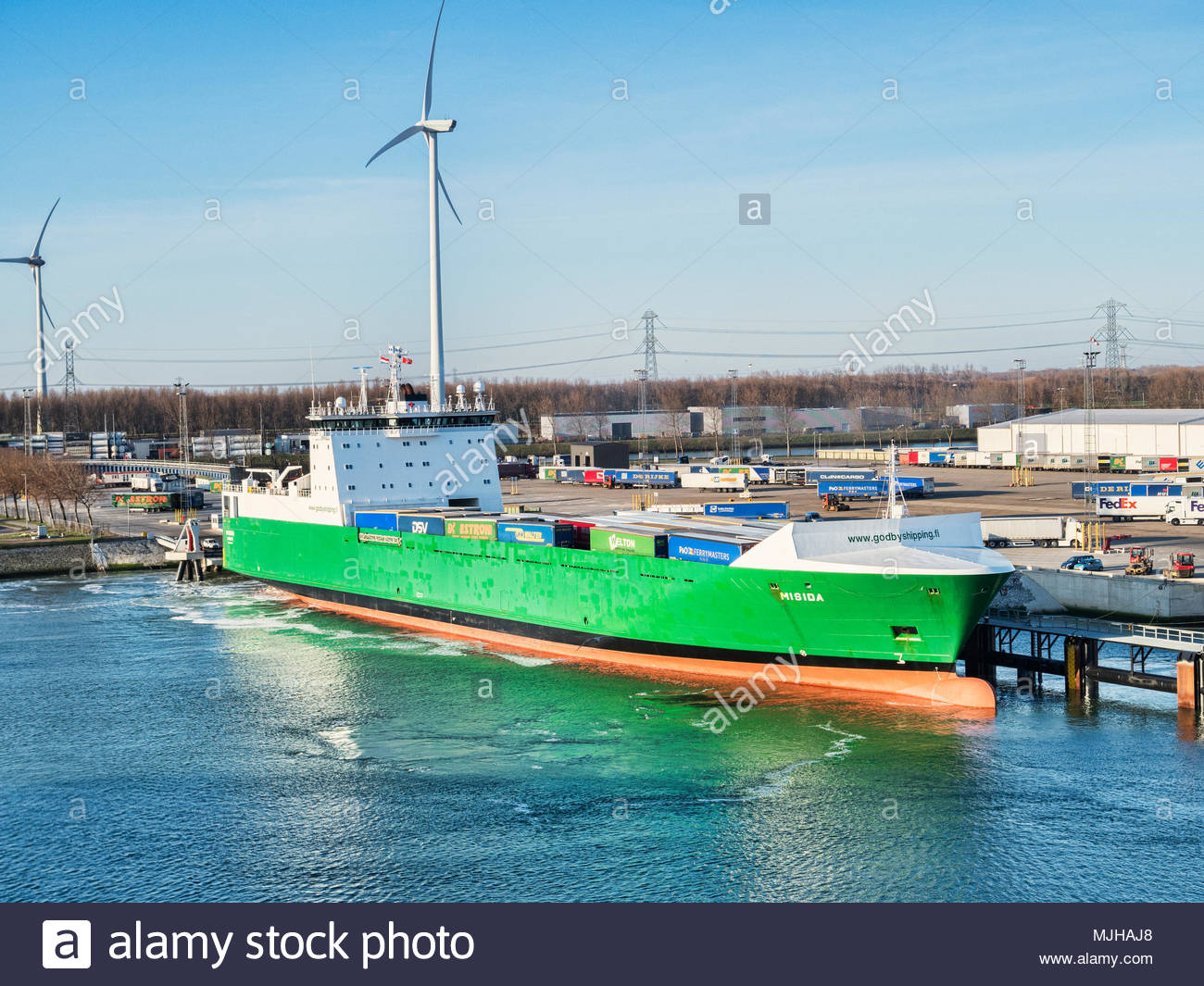 6 April 2018: Rotterdam, Netherlands - Godby ro-ro cargo ship Misida at Port of Rotterdam on a bright spring morning with clear blue sky. - Stock Image
