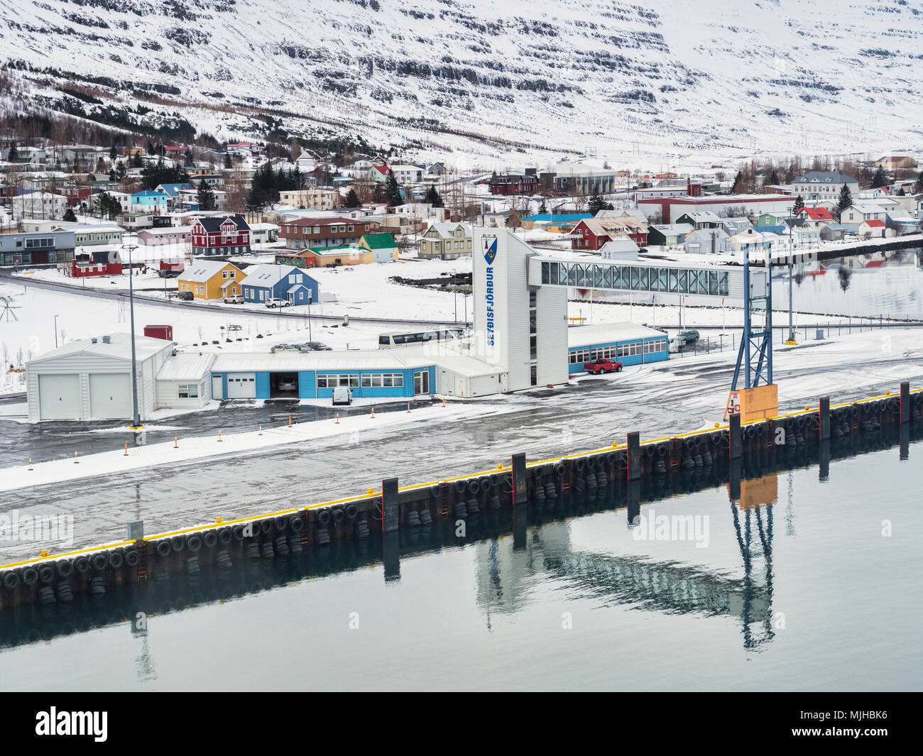 10 April 2018: Seydisfjordur, Iceland - Icelandic port in the eastern fiords. - Stock Image