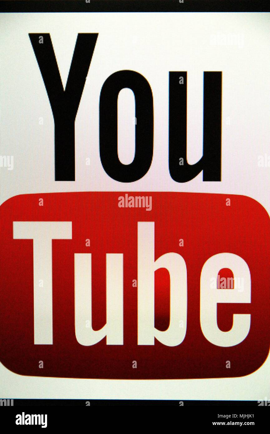 YouTube website, a video hosting site where users can send, evaluate, watch, comment and share videos. It was created in February 2005 by Steve Chen. Stock Photo