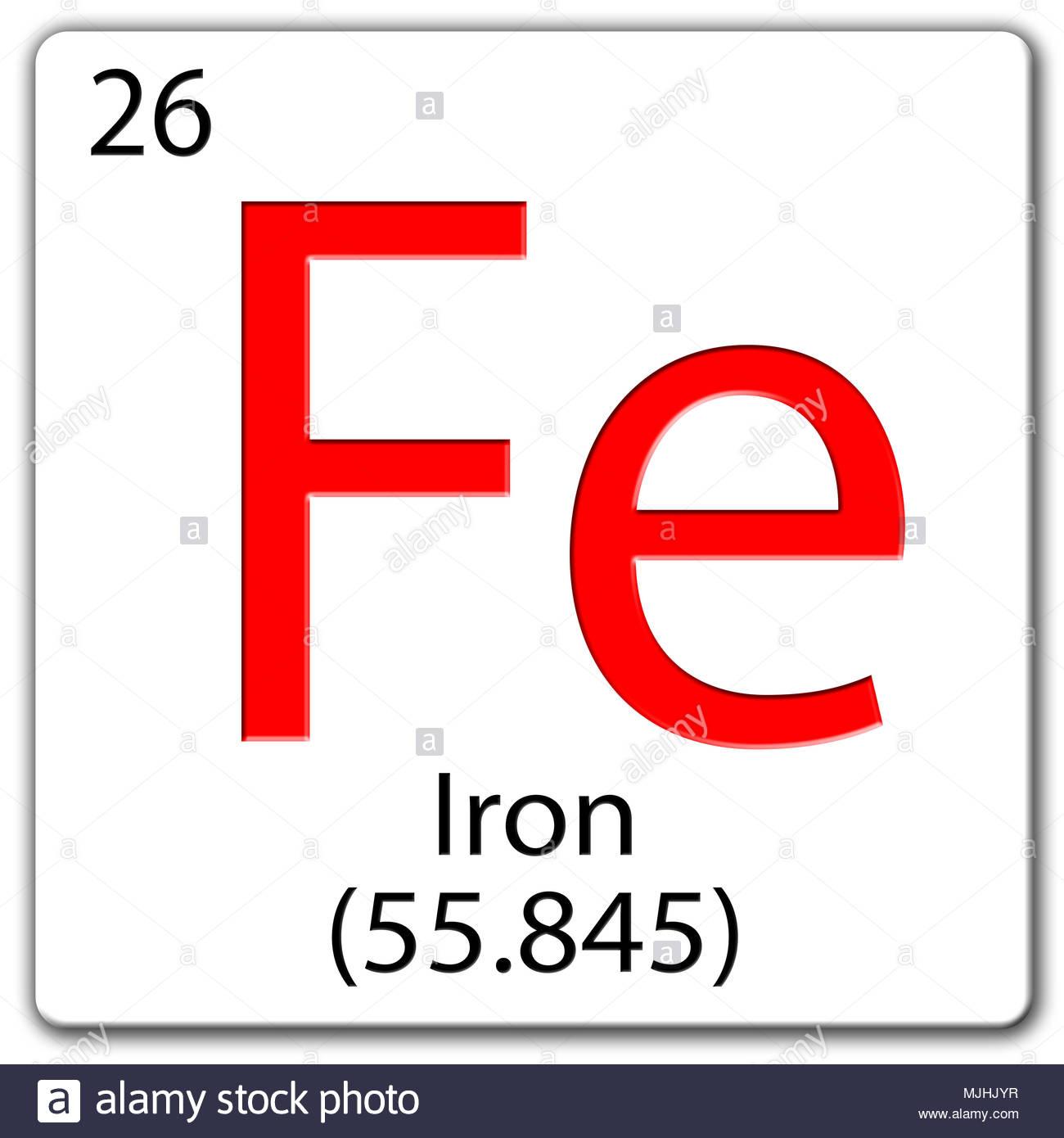 Chemical Element Tile Fe Iron Stock Photo 183555563 Alamy
