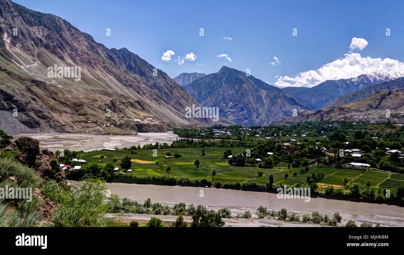 Kunar aka Chitral or Kama river near Lowari pass, Khyber Pakhtunkhwa province, Pakistan - Stock Image