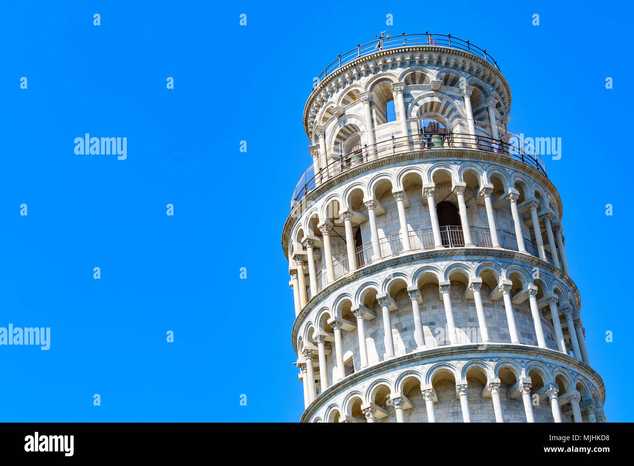 Leaning tower of Pisa, Italy against a cloudless blue sky Stock Photo