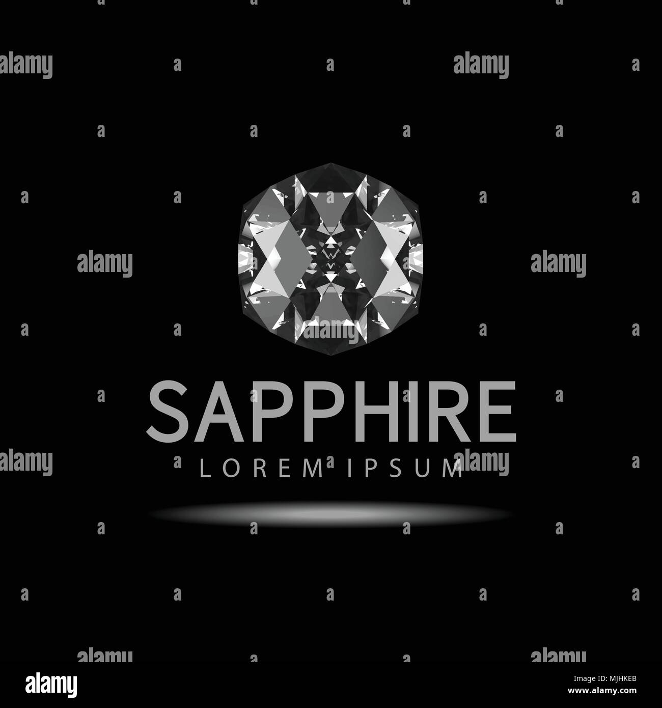 abstract sapphire on black background . Vector illustration . - Stock Vector