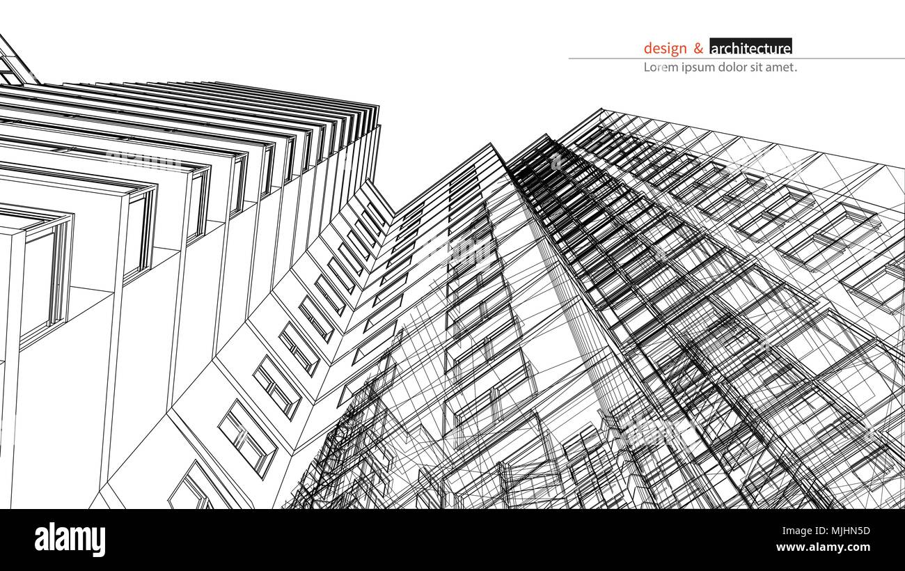 Urbanistic skyscraper. Abstract 3D render of building wire frame ...