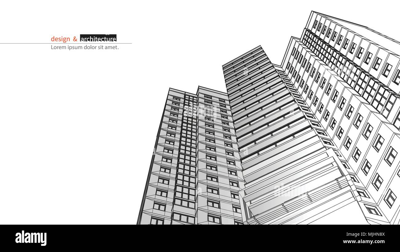 Urbanistic skyscraper. Abstract 3D render of building wire frame structure. Vector construction graphic idea for template design.Modern Building.Perspective city wiev, wide angle. Stock Vector